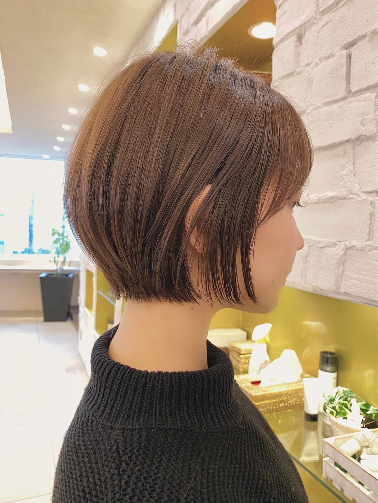 ショート 丸みショート 大人かわいい デート ヘアスタイルや髪型の写真・画像 | 石川有里彩 / リュドール栄