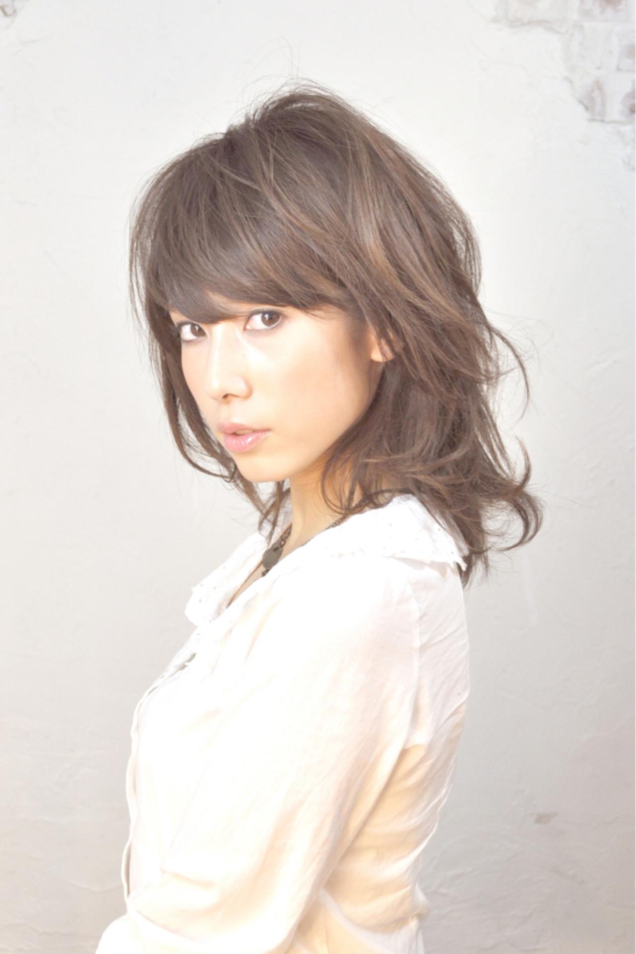デジタルパーマ パーマ フェミニン ミディアム ヘアスタイルや髪型の写真・画像 | 大谷江梨加 / blast
