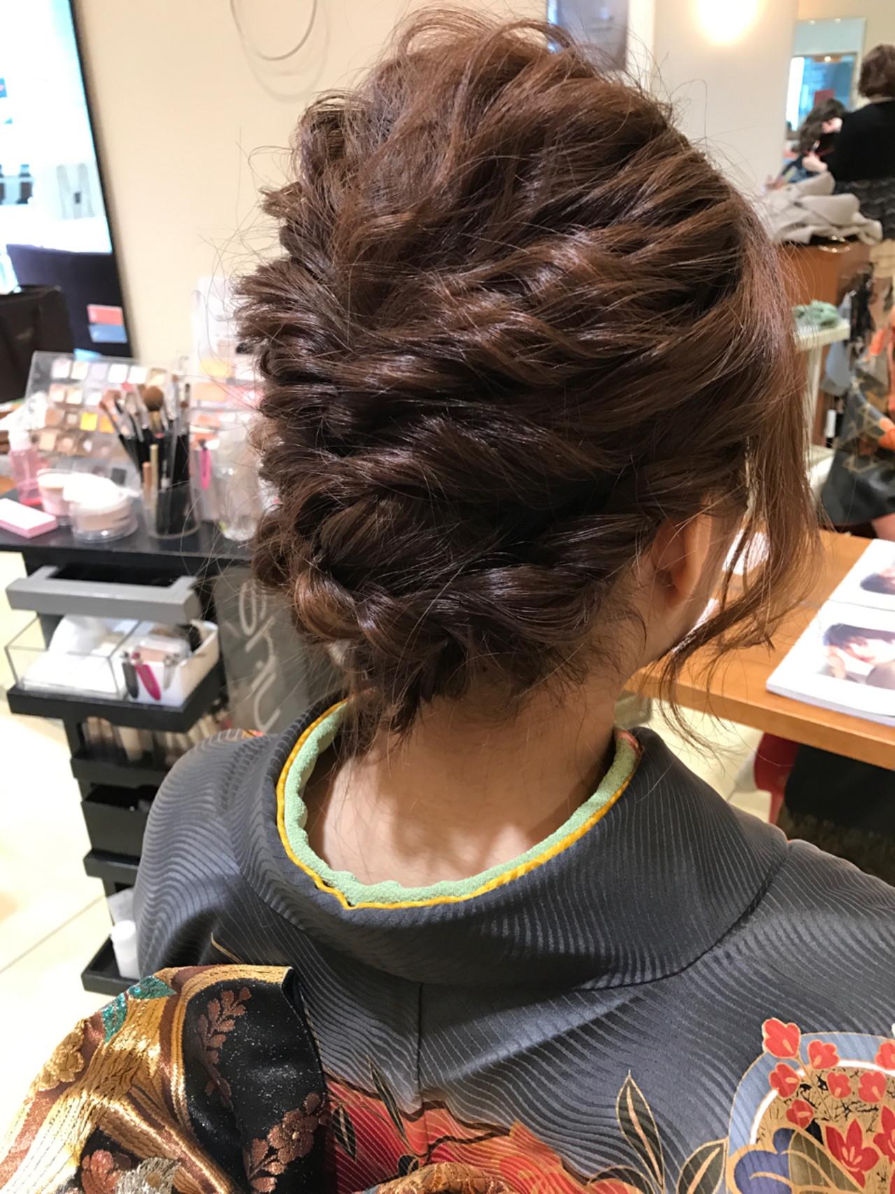 エレガント 編み込み ヘアアレンジ 上品 ヘアスタイルや髪型の写真・画像