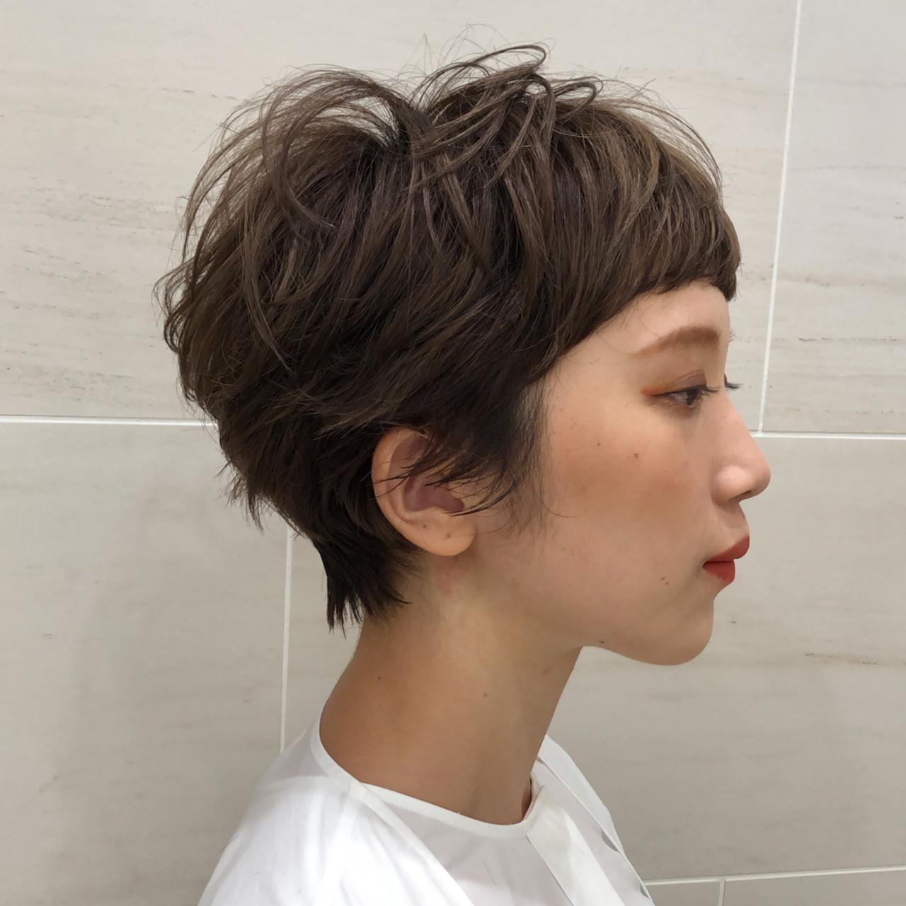 マッシュショート ミルクティーベージュ ショートボブ ショートヘア ヘアスタイルや髪型の写真・画像 | 池上 一星 / GINZA PEEK-A-BOO 中央通り店