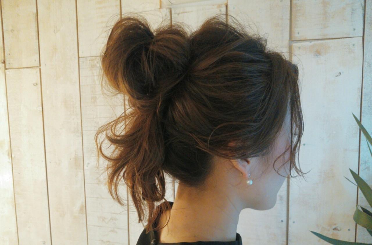 ヘアアレンジ セミロング 夏 簡単ヘアアレンジ ヘアスタイルや髪型の写真・画像
