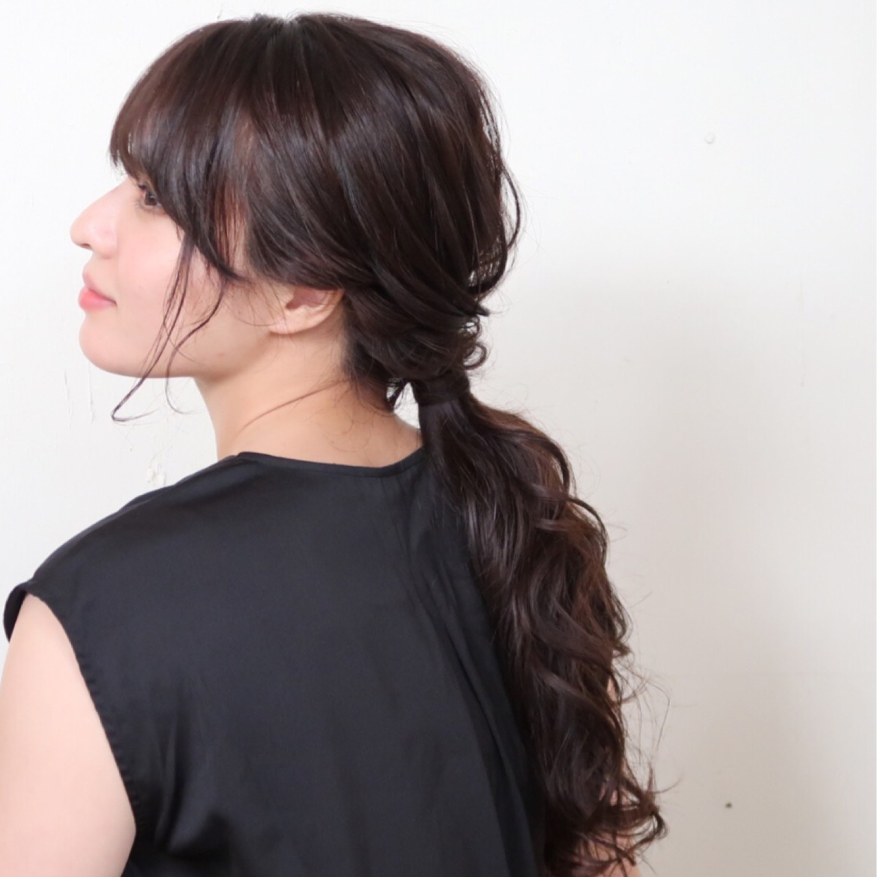 結婚式 ローポニーテール 大人かわいい ナチュラル ヘアスタイルや髪型の写真・画像