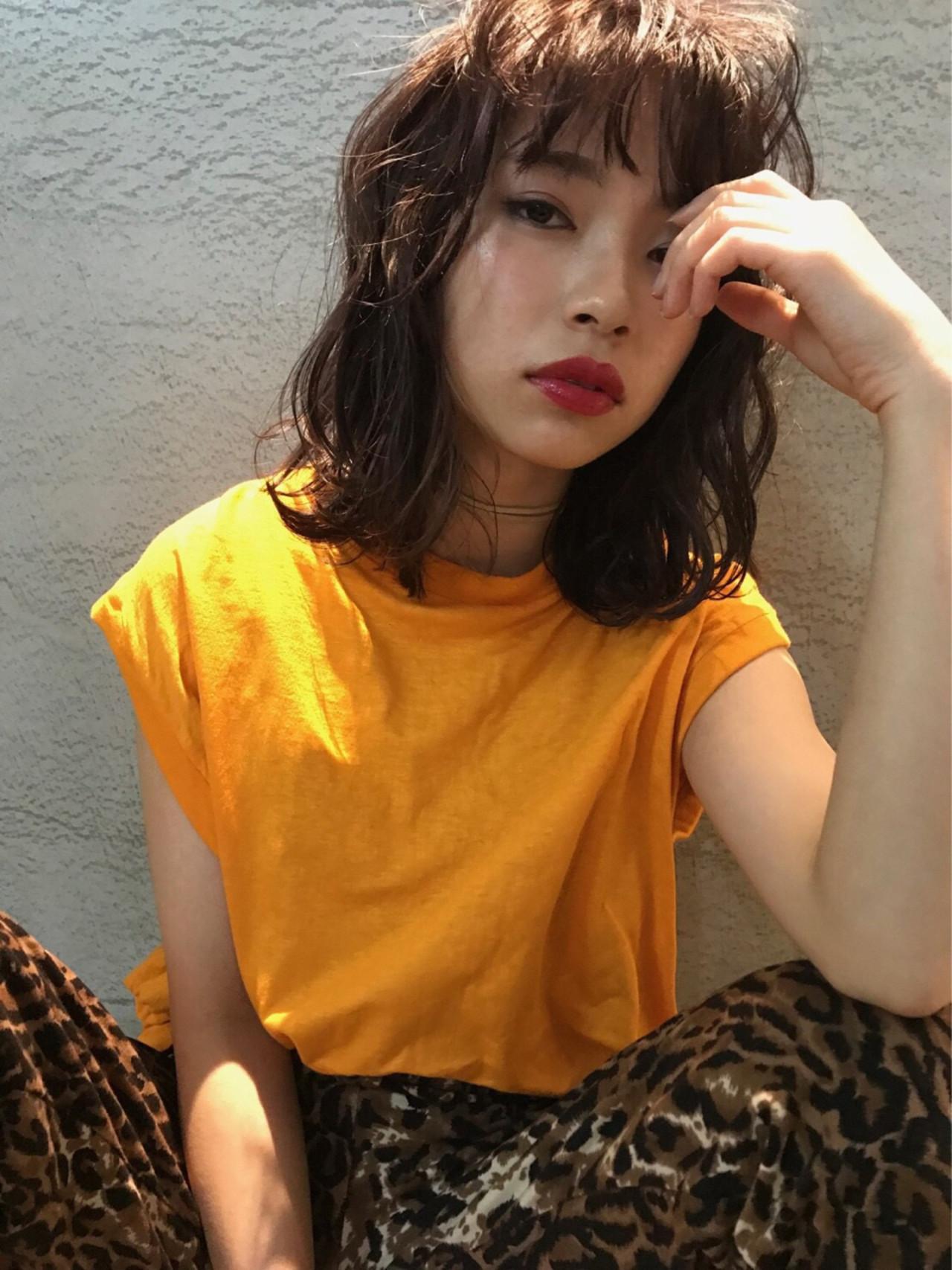 透明感 パープル ミディアム ヘアアレンジ ヘアスタイルや髪型の写真・画像