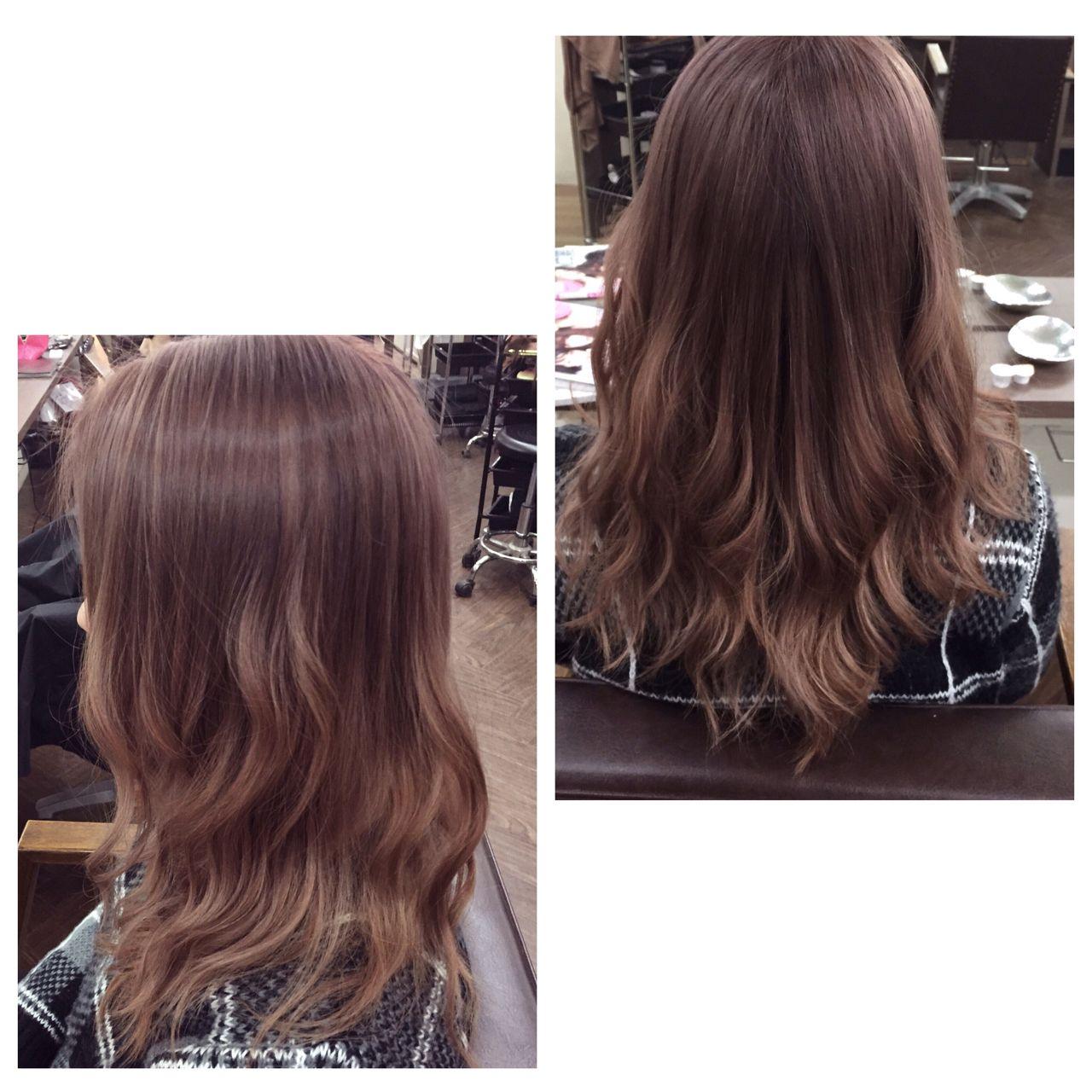 セミロング ガーリー ピンク ストリート ヘアスタイルや髪型の写真・画像