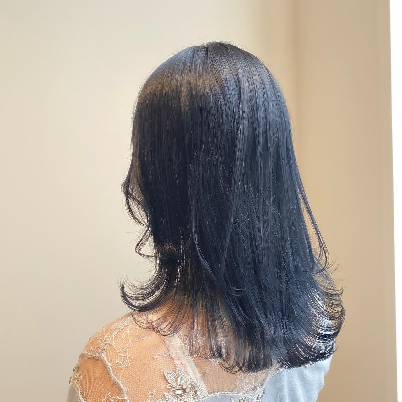 ブルーバイオレット ブルーラベンダー ブルージュ ネイビーブルー ヘアスタイルや髪型の写真・画像