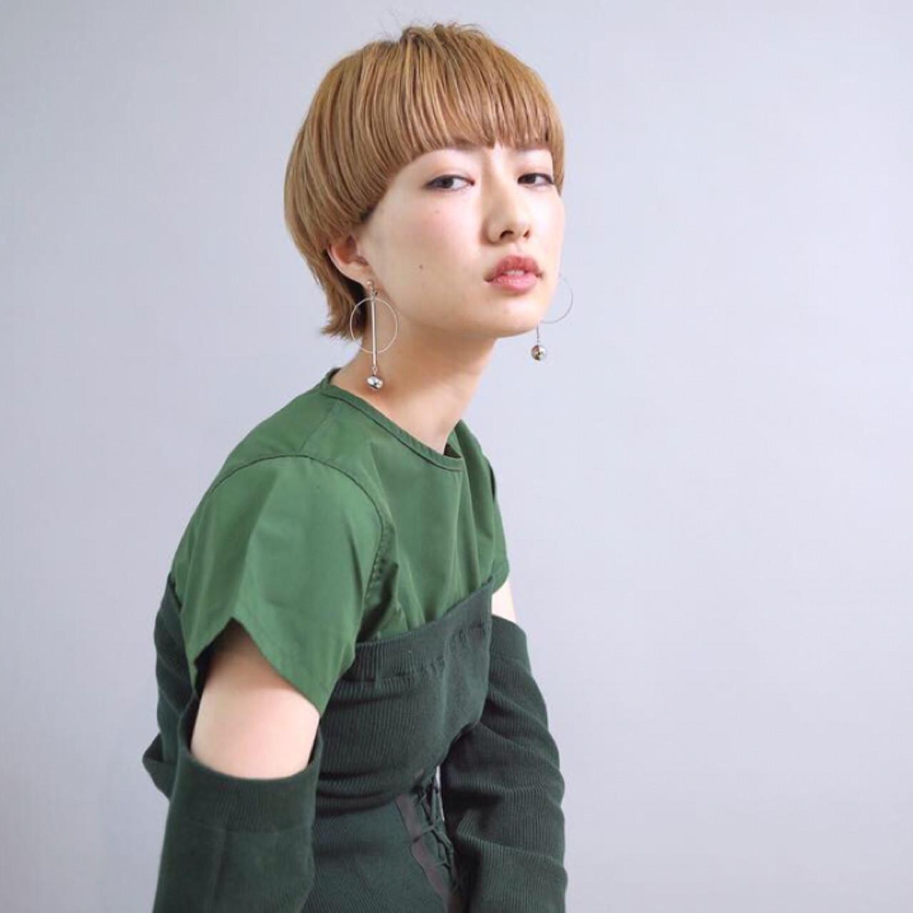 ショート マッシュ ブロンド モード ヘアスタイルや髪型の写真・画像 | 畑山拓也 / Baco.