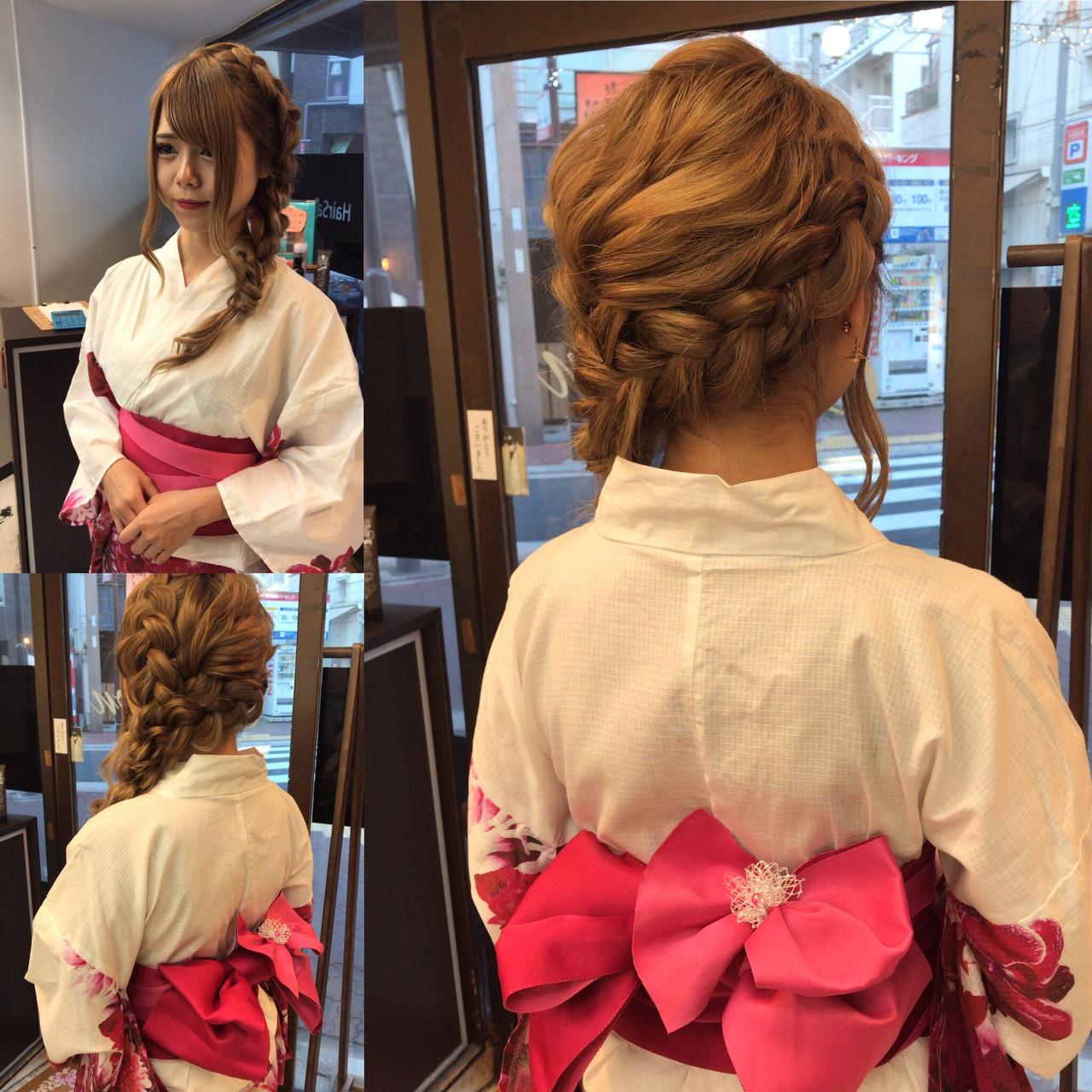 浴衣ヘア ガーリー ヘアアレンジ デート ヘアスタイルや髪型の写真・画像