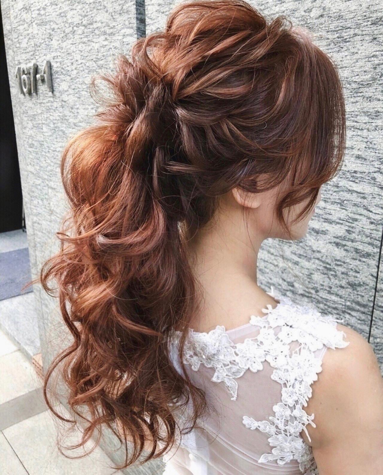 ヘアアレンジ 結婚式髪型 ゆるナチュラル ロング ヘアスタイルや髪型の写真・画像