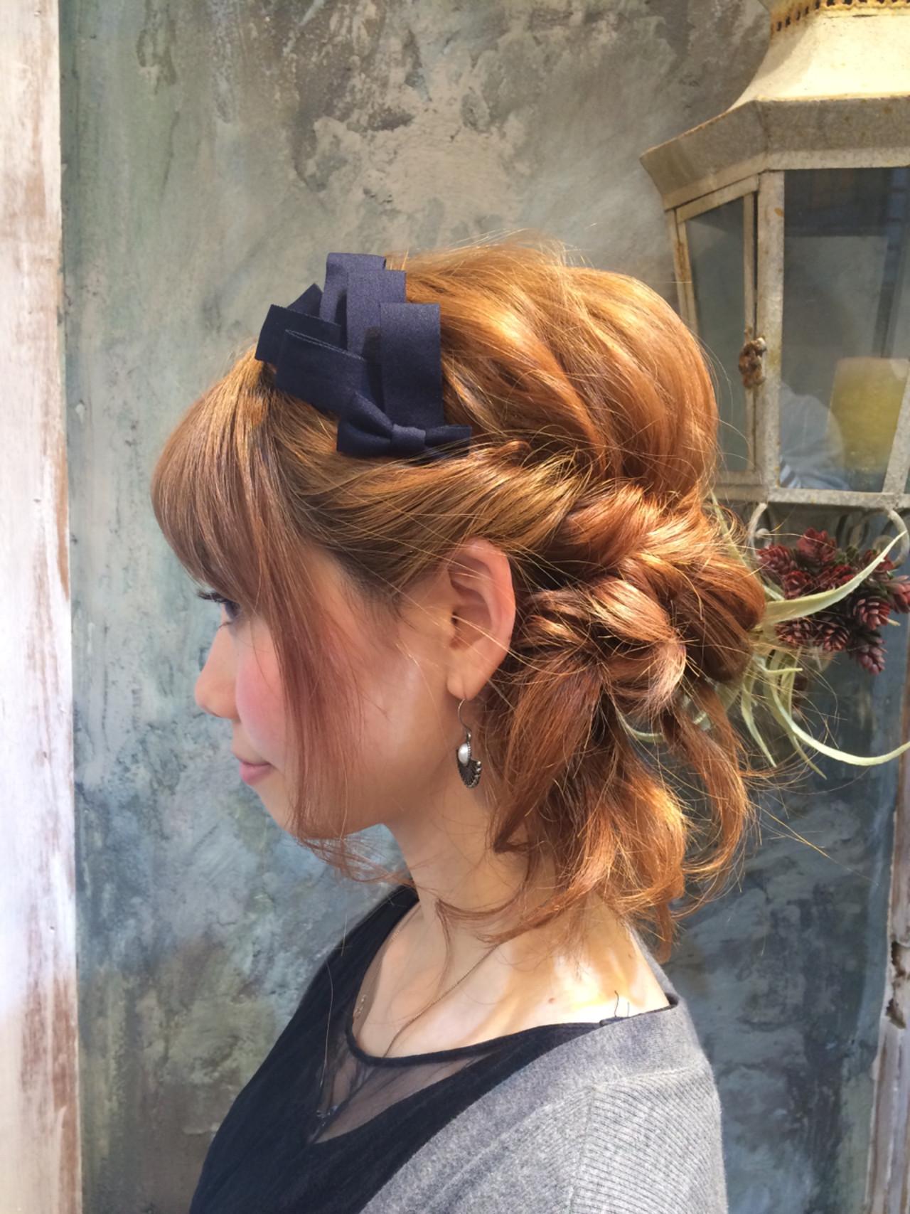 ヘアアレンジ 簡単ヘアアレンジ ハイライト ミディアム ヘアスタイルや髪型の写真・画像