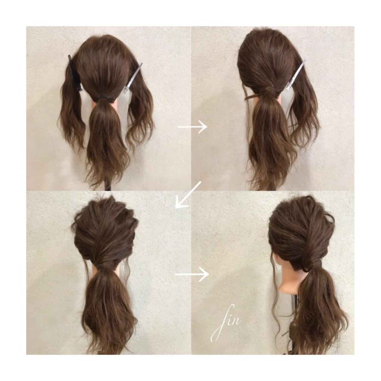 簡単ヘアアレンジ 波ウェーブ ローポニーテール ロング ヘアスタイルや髪型の写真・画像 | オグラタカヒロ / HAIR RESORT THE AMAN GIRL