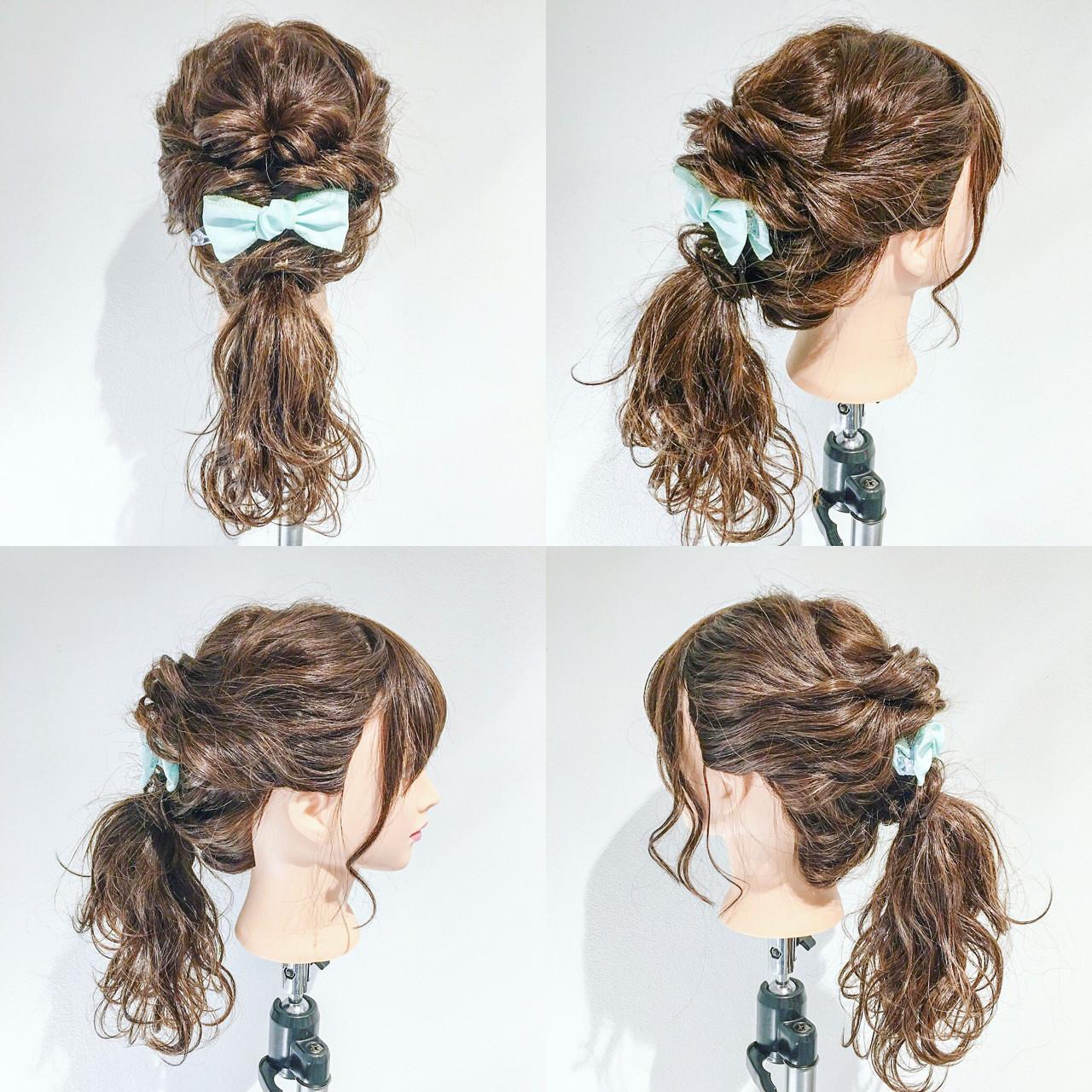 セミロング デート 簡単ヘアアレンジ ポニーテール ヘアスタイルや髪型の写真・画像