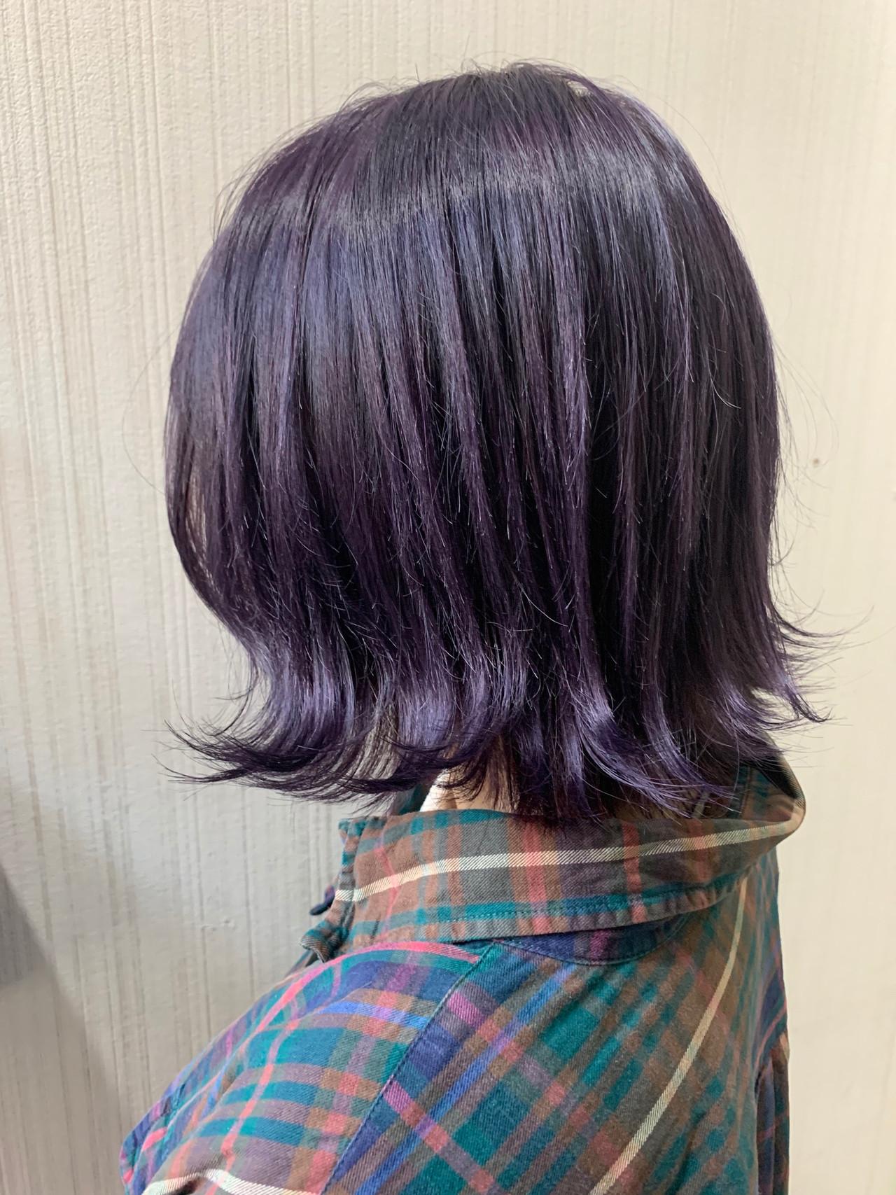 ラベンダーピンク ナチュラル ボブ ネイビーブルー ヘアスタイルや髪型の写真・画像 | 土屋一貴 / TOMCAT