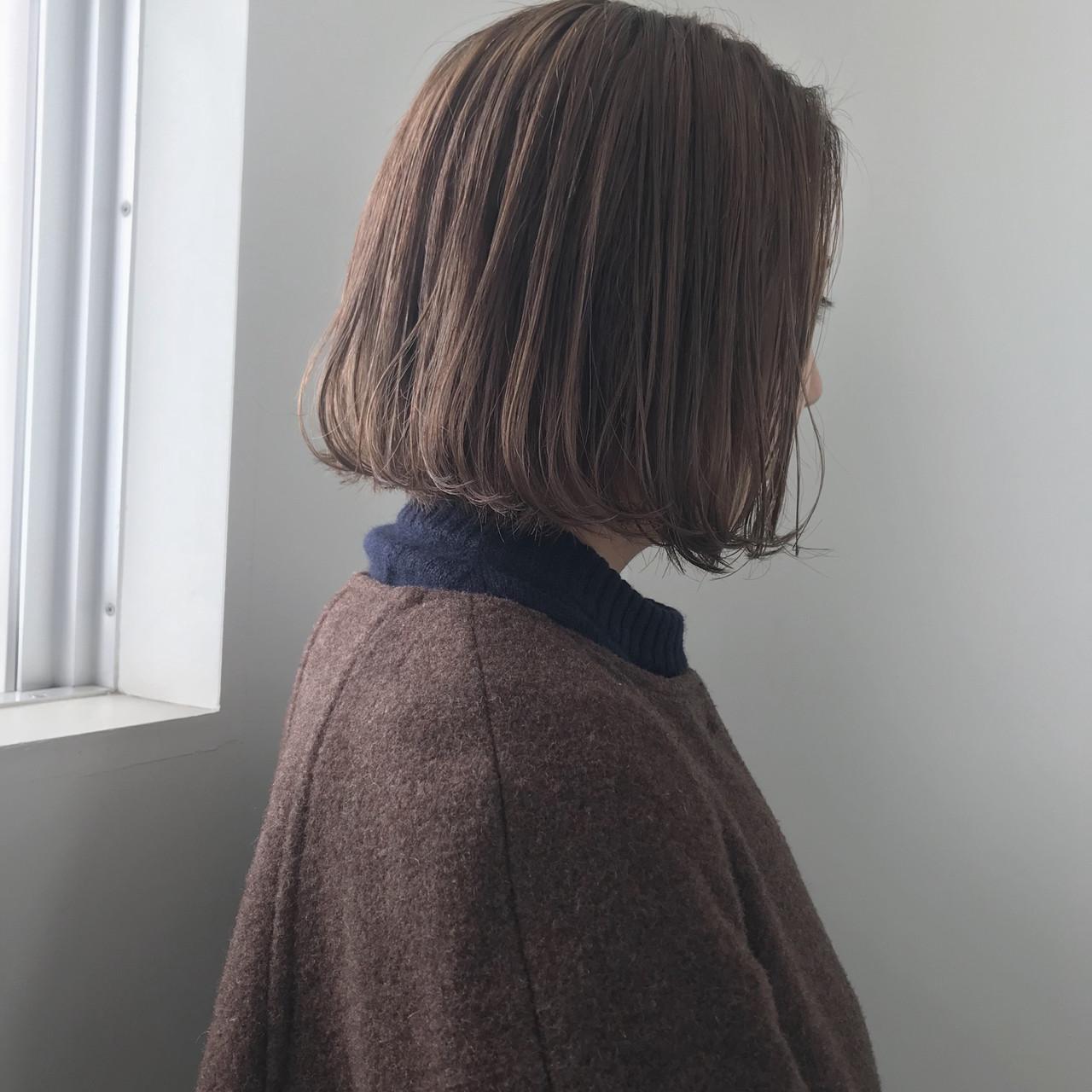 ボブ 透明感カラー ミルクティーベージュ ヌーディベージュ ヘアスタイルや髪型の写真・画像 | 井浦果歩 / ecouter