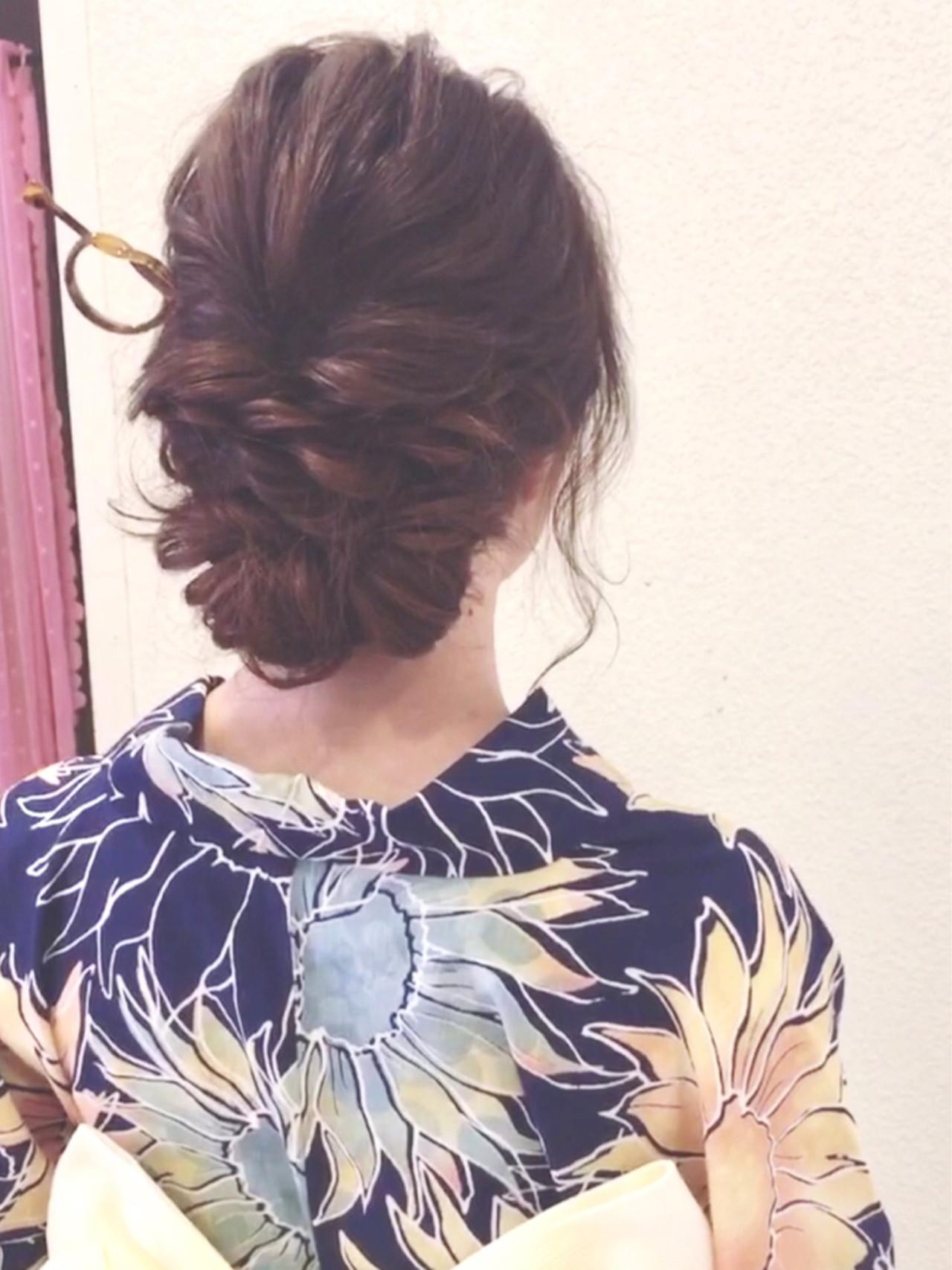 ナチュラル ヘアアレンジ 花火大会 お祭り ヘアスタイルや髪型の写真・画像