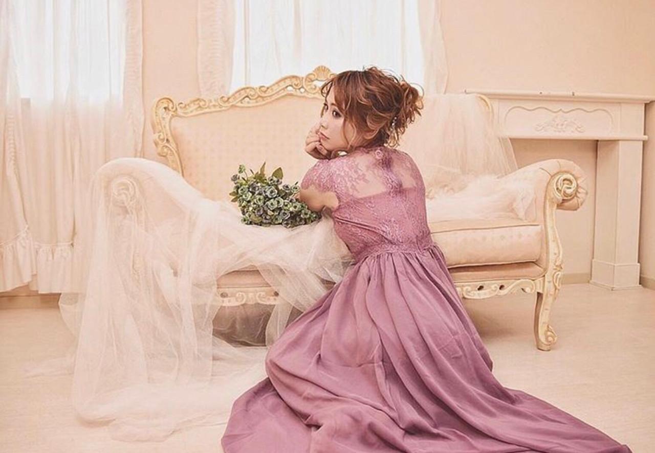 結婚式 エレガント セミロング ヘアアレンジ ヘアスタイルや髪型の写真・画像