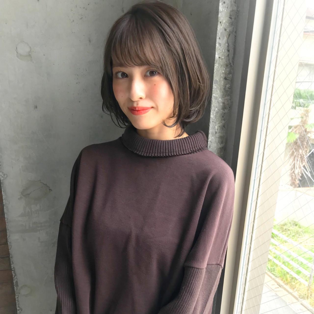 小顔 似合わせ 秋 冬 ヘアスタイルや髪型の写真・画像