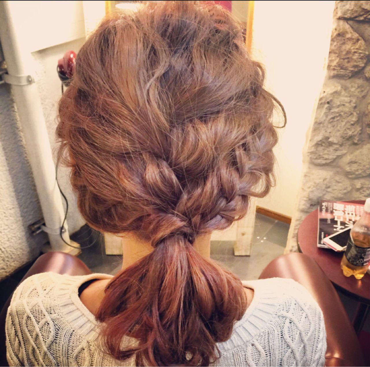 編み込み ショート ゆるふわ 大人かわいい ヘアスタイルや髪型の写真・画像