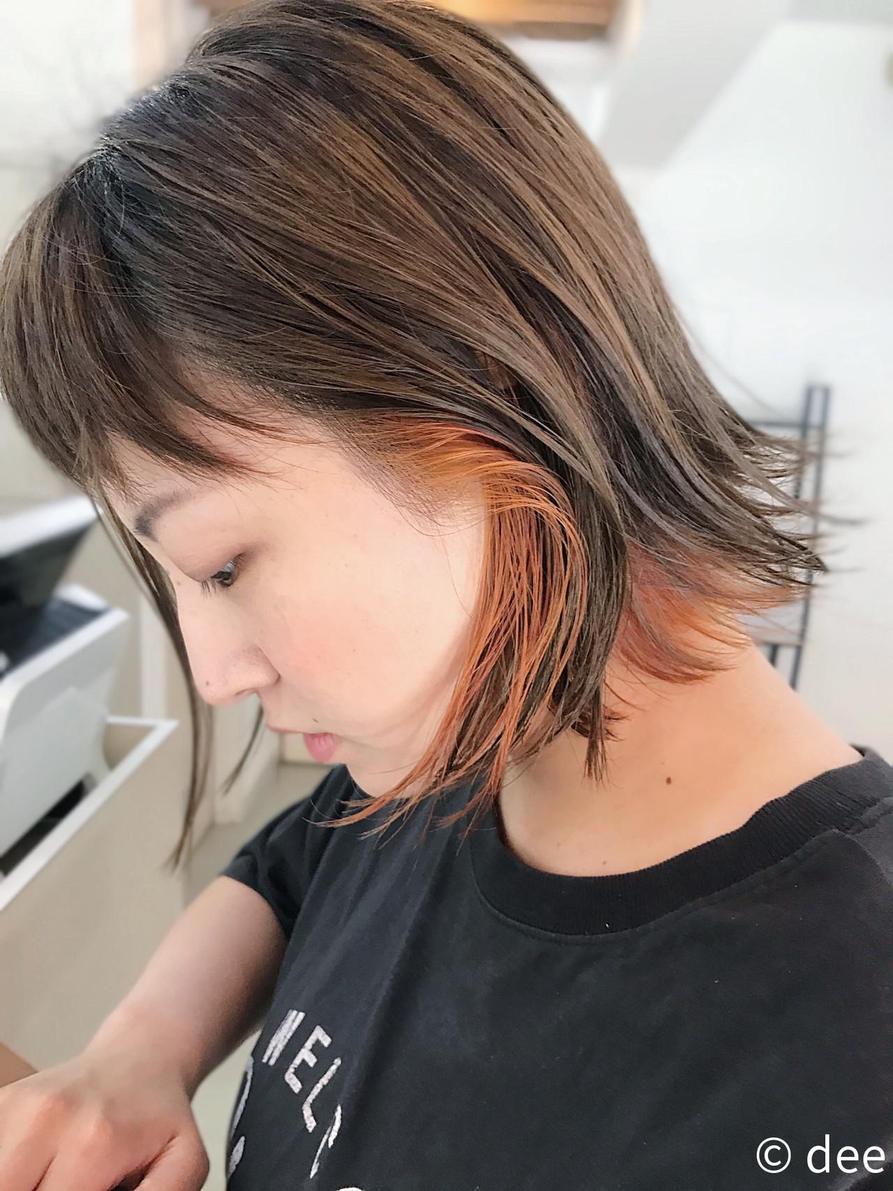 ブリーチ オレンジ ショート カーキ ヘアスタイルや髪型の写真・画像 | dee / dee