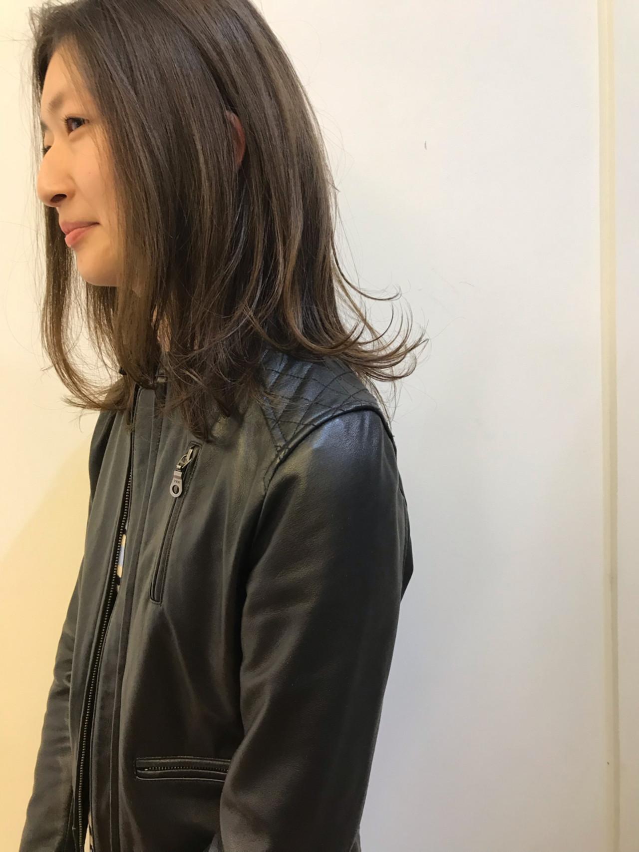 ハイライト ガーリー デジタルパーマ ミディアム ヘアスタイルや髪型の写真・画像