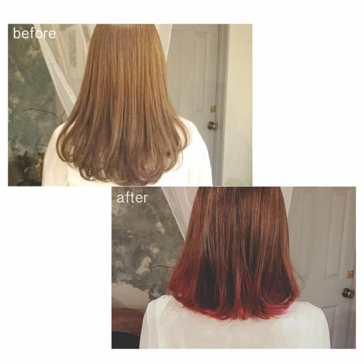 インナーカラー グラデーションカラー 春 ハイライト ヘアスタイルや髪型の写真・画像