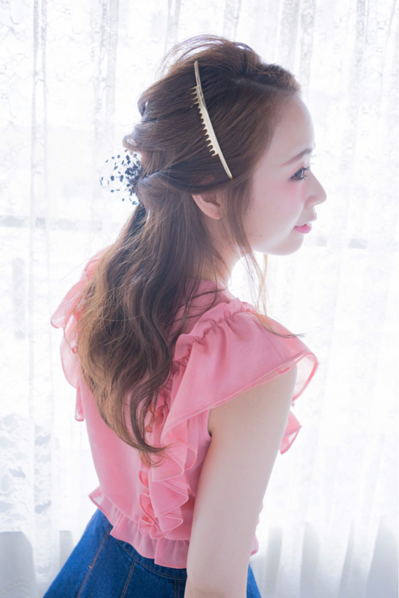 ハーフアップ ゆるふわ ショート 簡単ヘアアレンジ ヘアスタイルや髪型の写真・画像