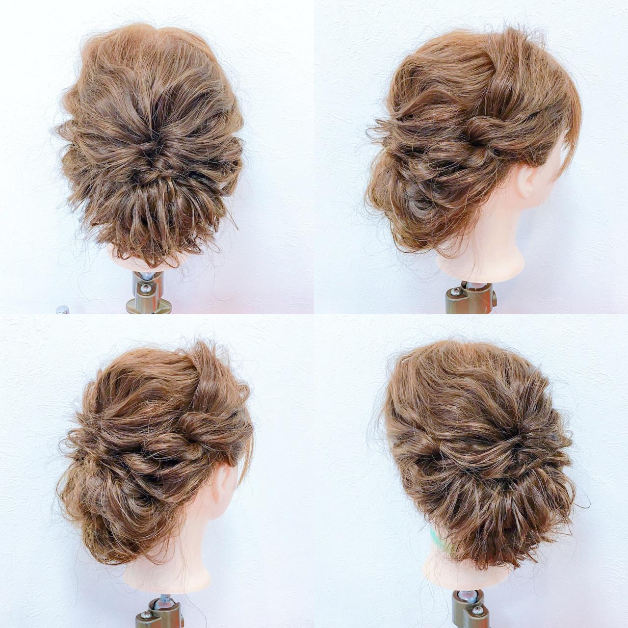 ミディアム ヘアアレンジ 大人かわいい 結婚式 ヘアスタイルや髪型の写真・画像