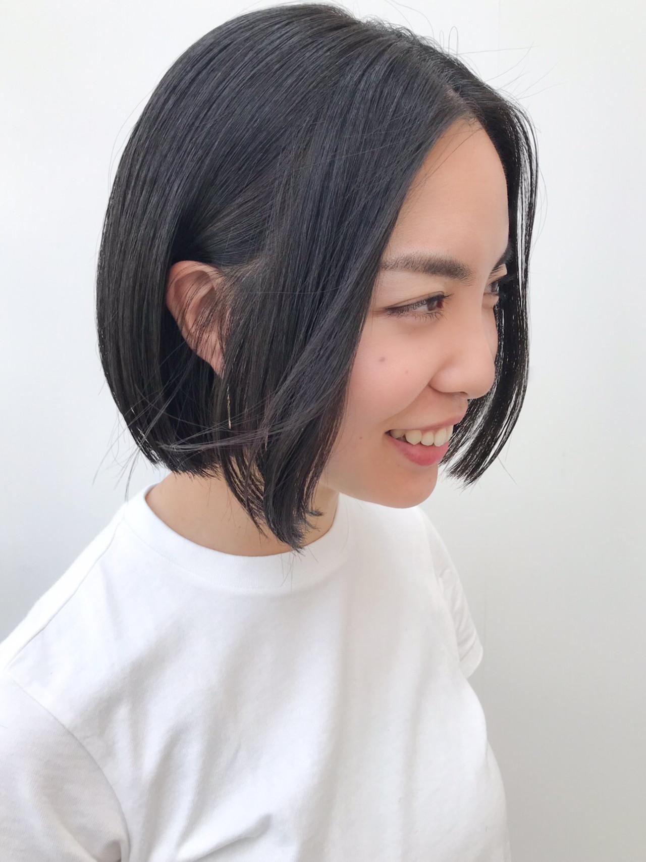 デート 切りっぱなしボブ 横顔美人 コンサバ ヘアスタイルや髪型の写真・画像