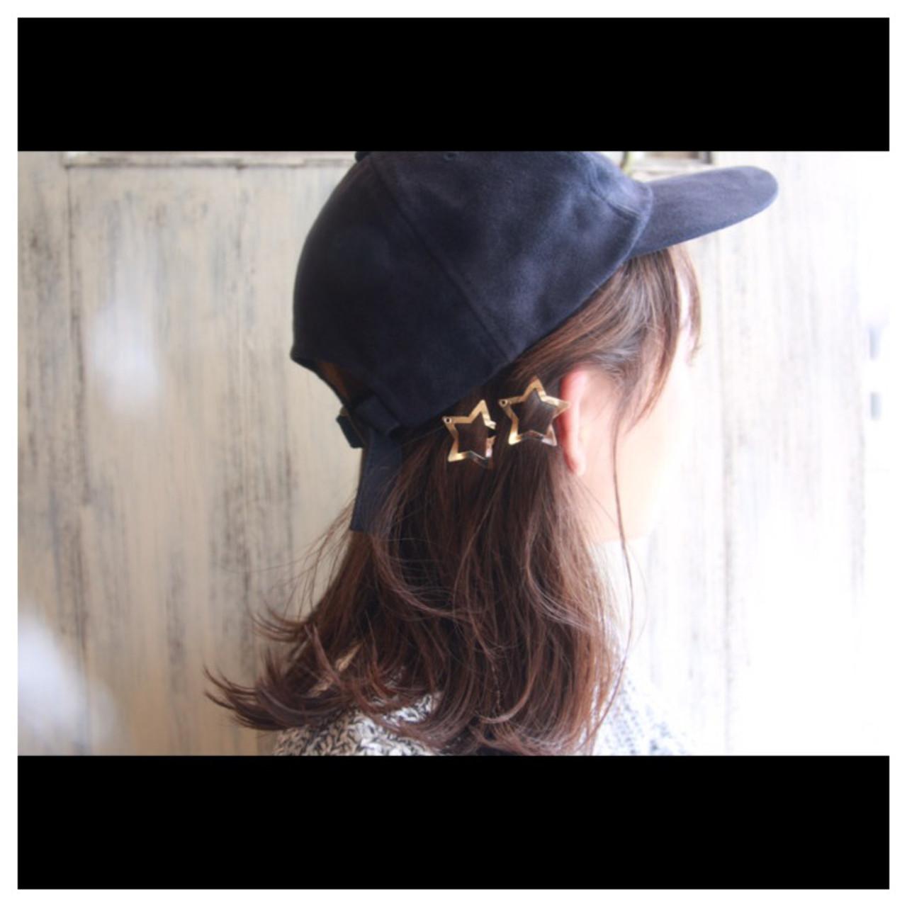 キャップ ワンレングス 切りっぱなし 外ハネ ヘアスタイルや髪型の写真・画像 | 松谷 聖史 /  estrela