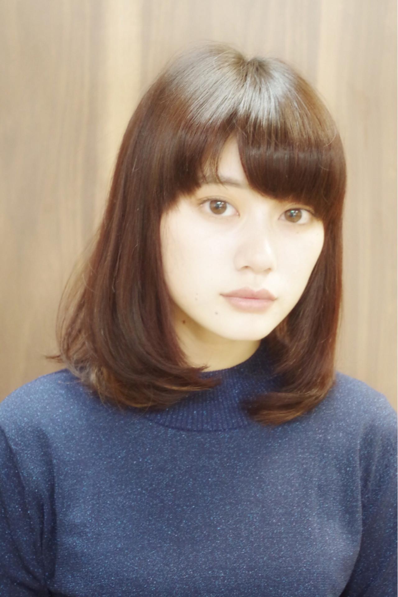 ミディアム フェミニン 大人かわいい 前髪あり ヘアスタイルや髪型の写真・画像 | 山本悠平 / hair salon nano
