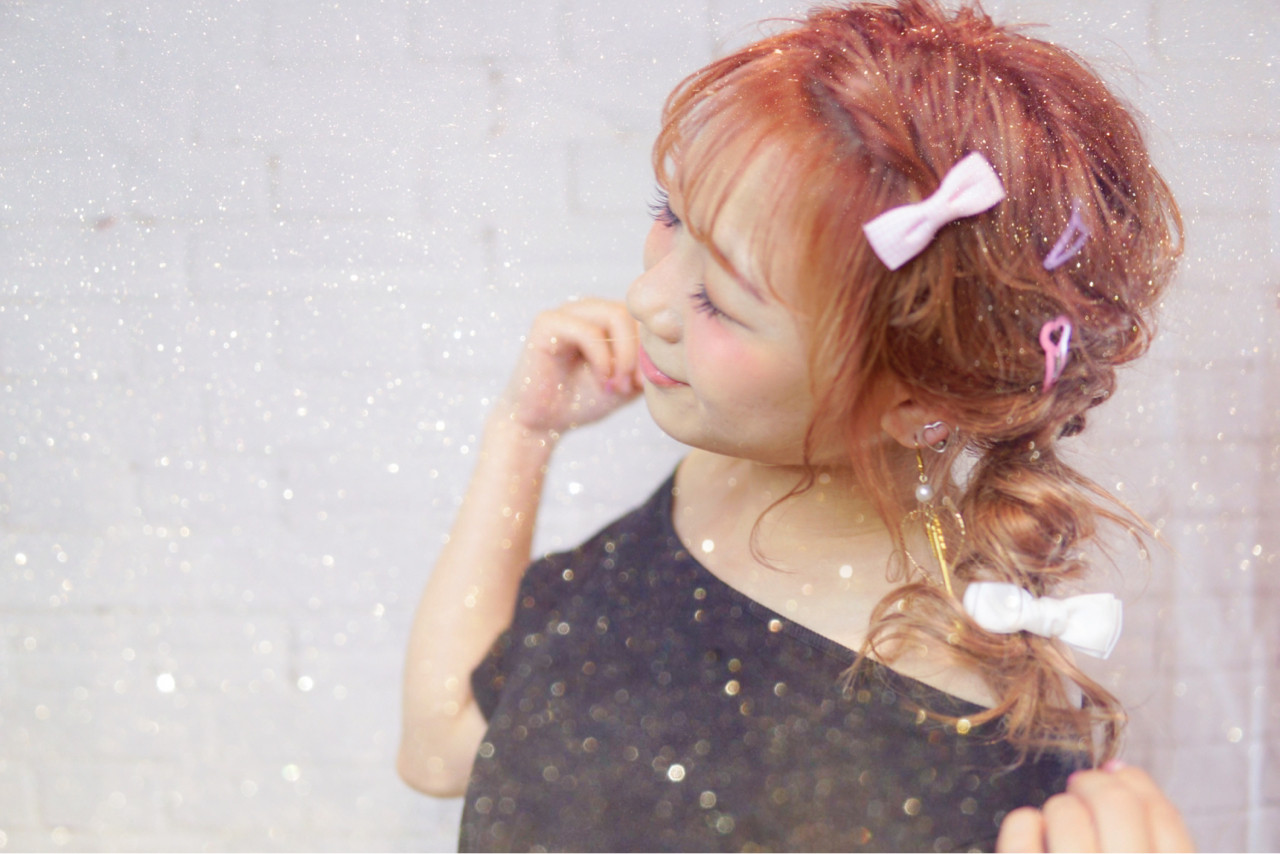 ガーリー ベージュ 簡単ヘアアレンジ セミロング ヘアスタイルや髪型の写真・画像