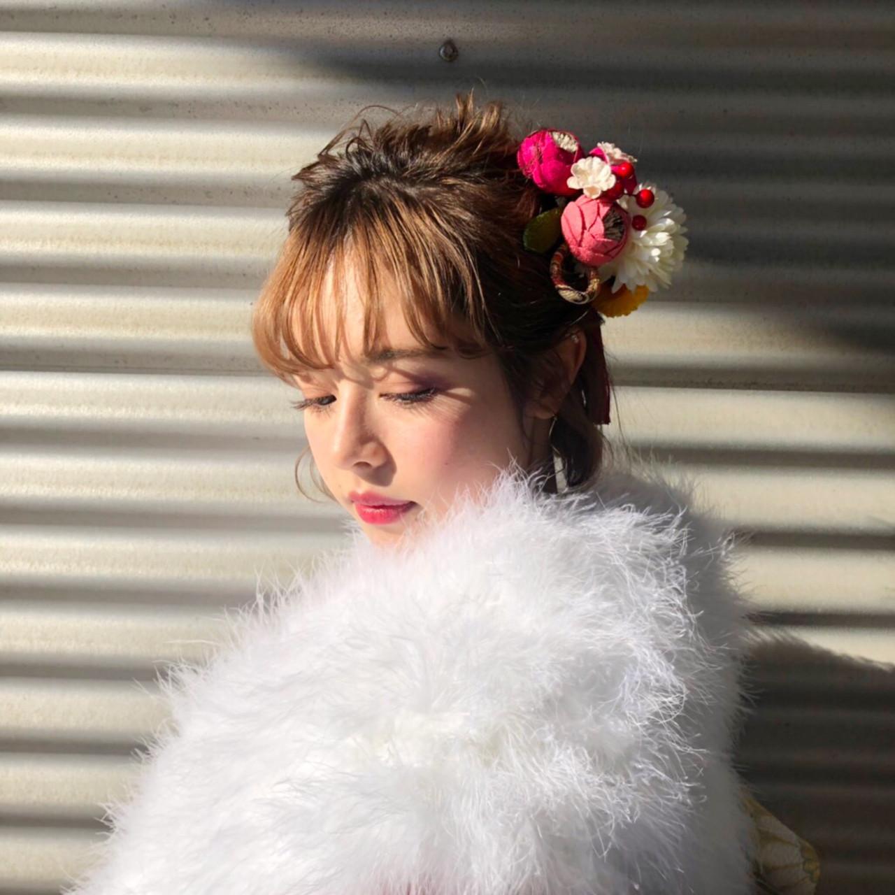 簡単ヘアアレンジ ヘアアレンジ 結婚式 ガーリー ヘアスタイルや髪型の写真・画像