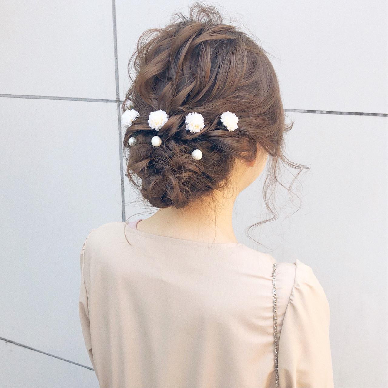 セミロング 簡単ヘアアレンジ ナチュラル ヘアアレンジ ヘアスタイルや髪型の写真・画像