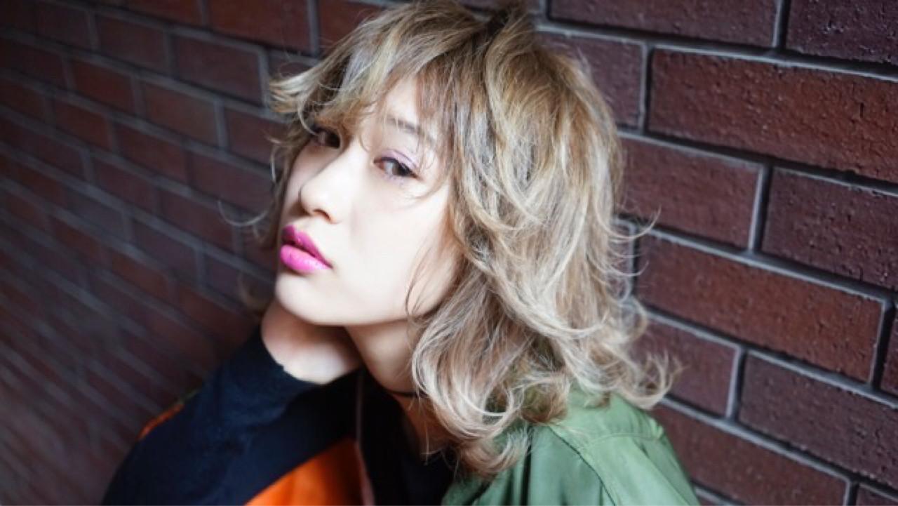 外国人風 外ハネ ストリート グラデーションカラー ヘアスタイルや髪型の写真・画像