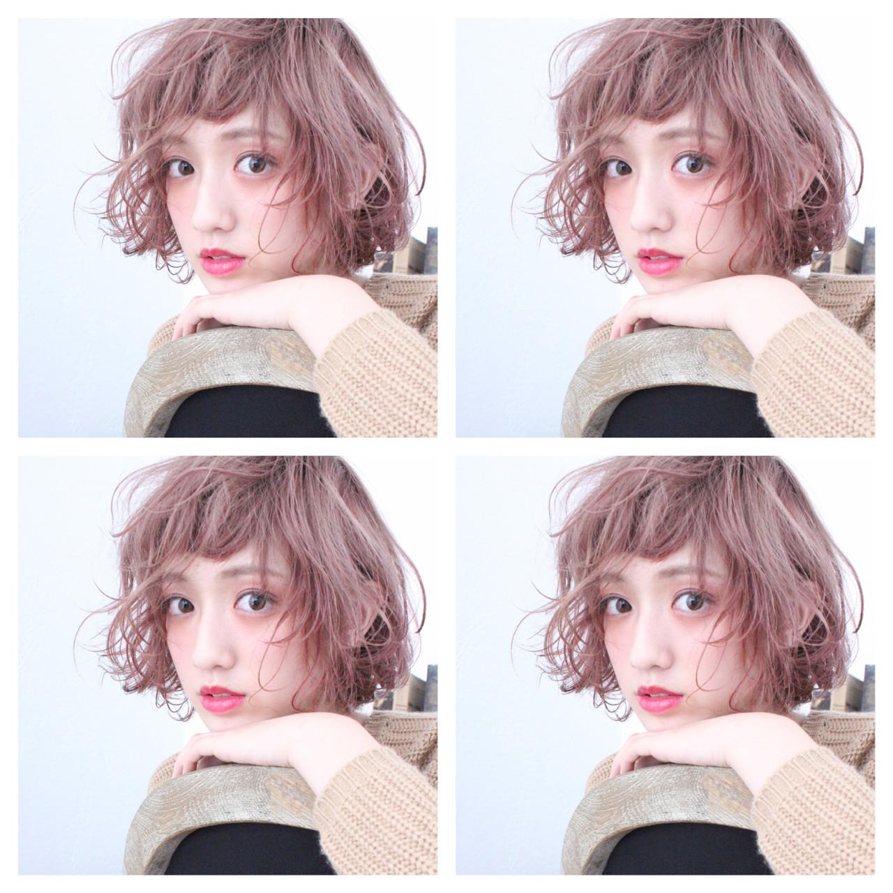 ゆるふわ ボブ ラベンダーピンク ベージュ ヘアスタイルや髪型の写真・画像 | 上田智久 / ooit 福岡 天神 / ooit