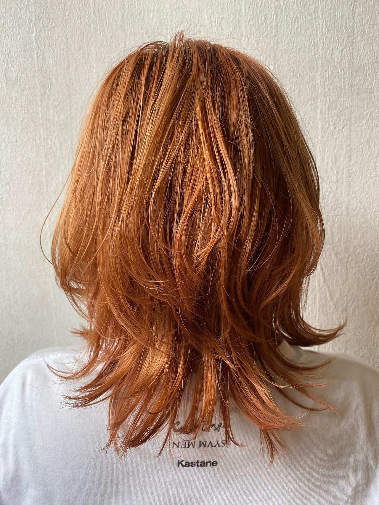 アプリコットオレンジ オレンジカラー オレンジベージュ ナチュラル ヘアスタイルや髪型の写真・画像