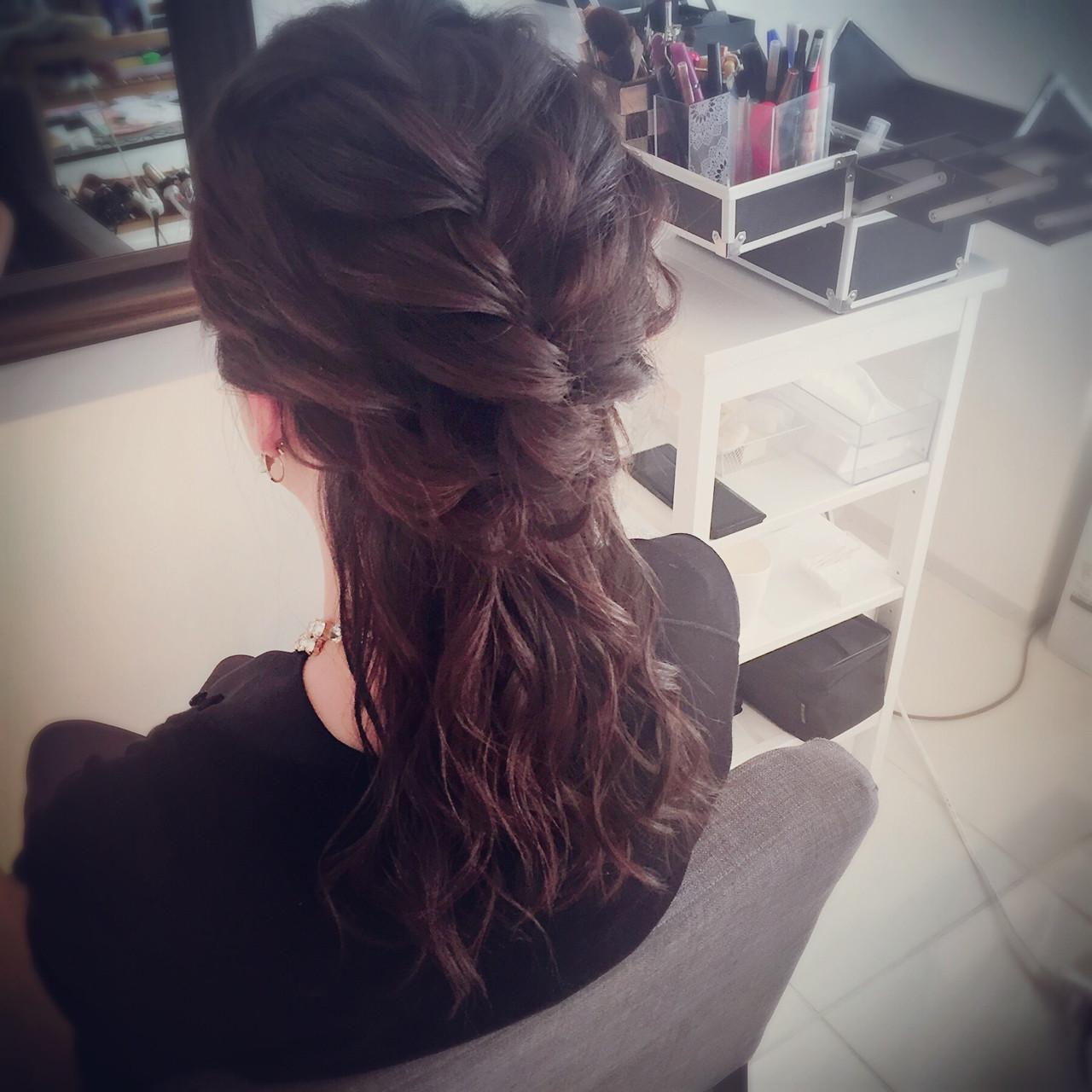 セミロング ハーフアップ フェミニン ショート ヘアスタイルや髪型の写真・画像 | *hamai* / フリー