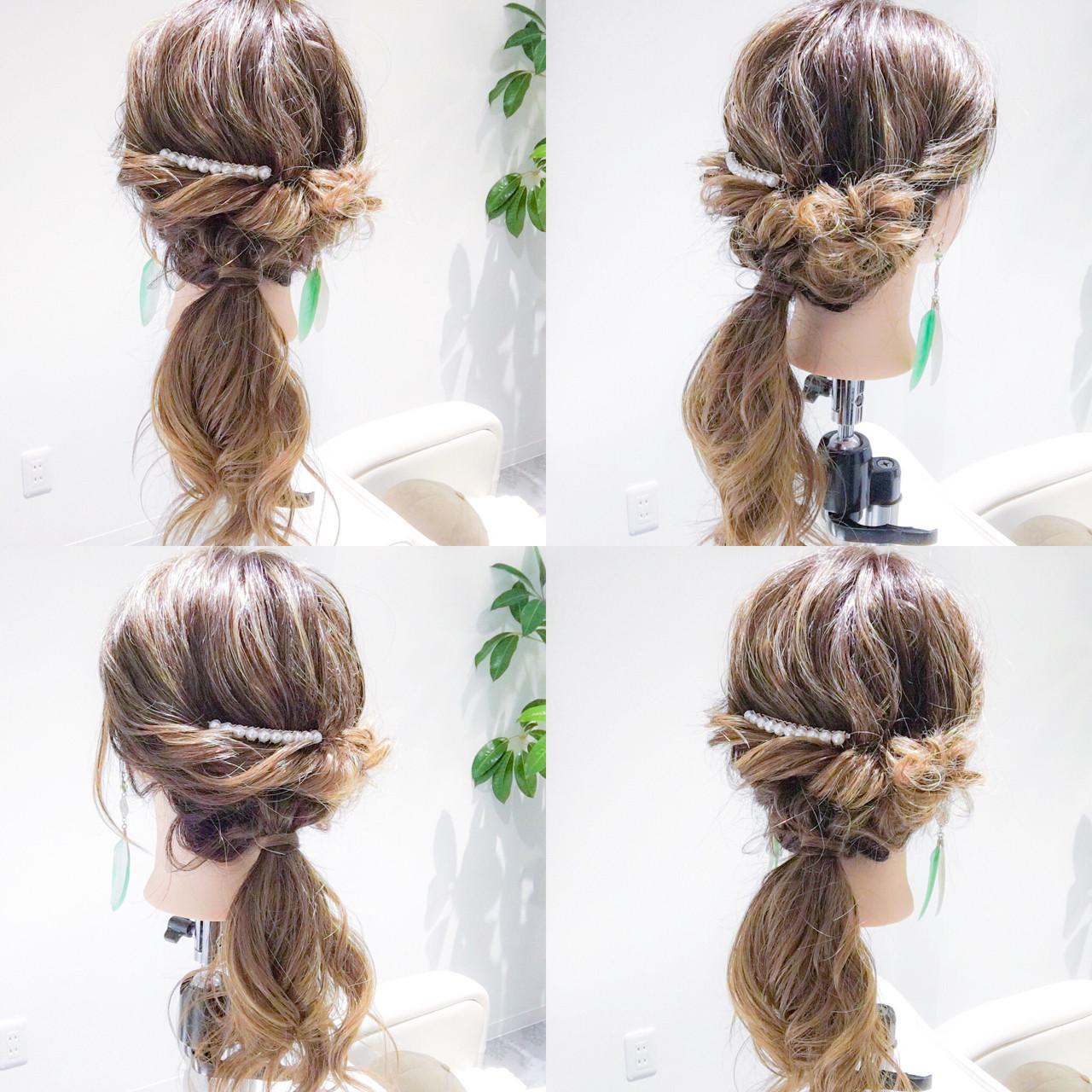 デート 簡単ヘアアレンジ ロング ナチュラル ヘアスタイルや髪型の写真・画像