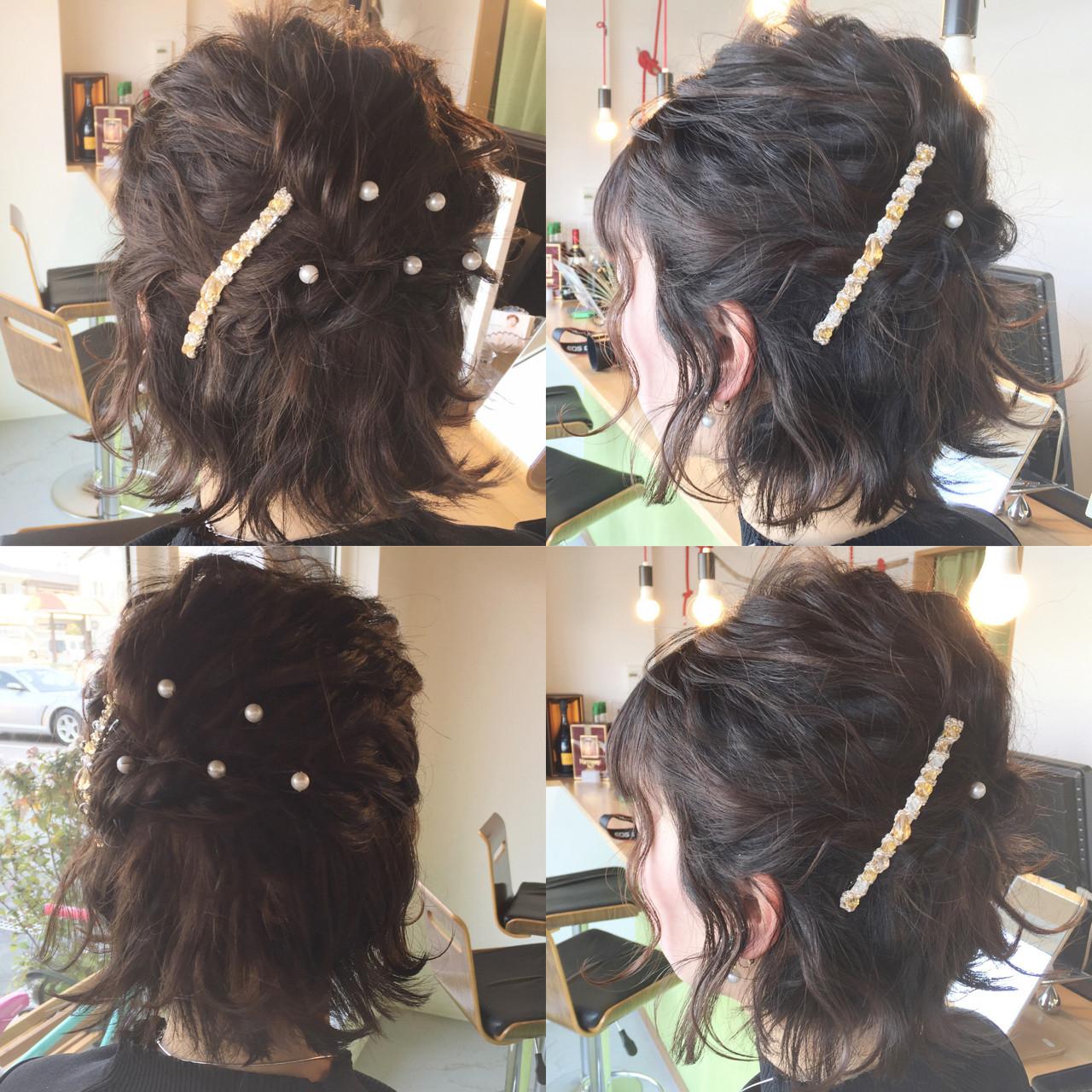 ハーフアップ 外ハネ 結婚式 ヘアアレンジ ヘアスタイルや髪型の写真・画像