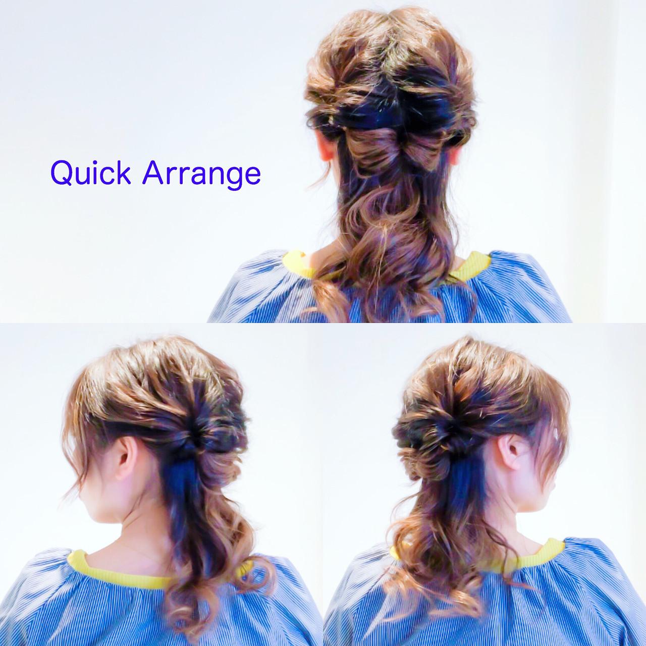 簡単ヘアアレンジ フェミニン オフィス セルフアレンジ ヘアスタイルや髪型の写真・画像