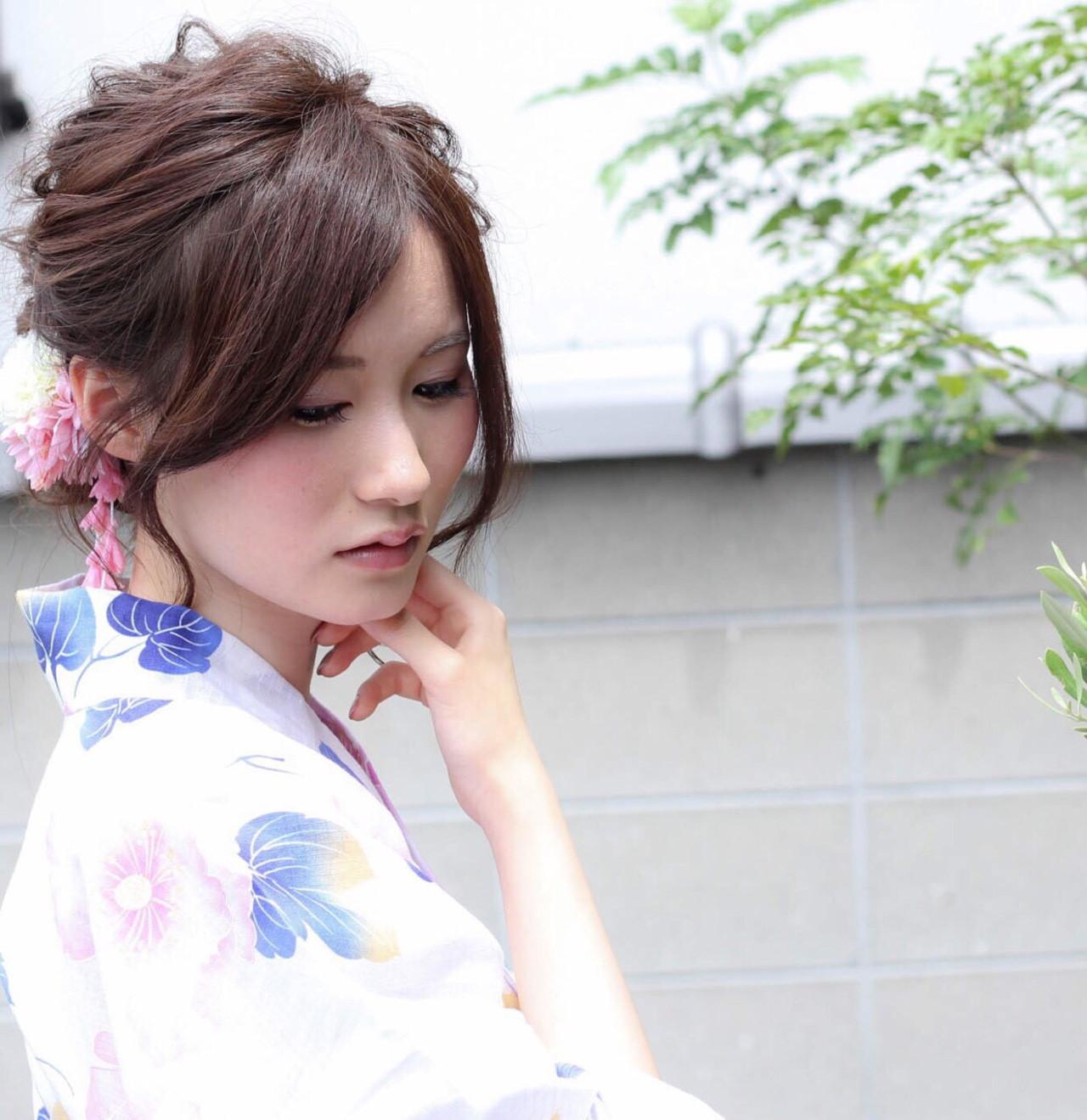 花火大会 デート まとめ髪 和装 ヘアスタイルや髪型の写真・画像   あかね /