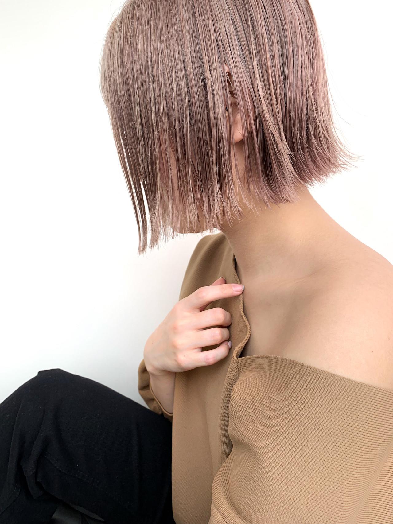 ナチュラル ショート 切りっぱなしボブ ピンクベージュ ヘアスタイルや髪型の写真・画像   川原拓也 / GIEN ROUGE