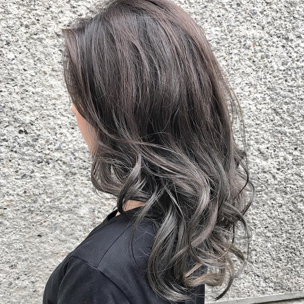 透明感 ダブルカラー 秋 ロング ヘアスタイルや髪型の写真・画像