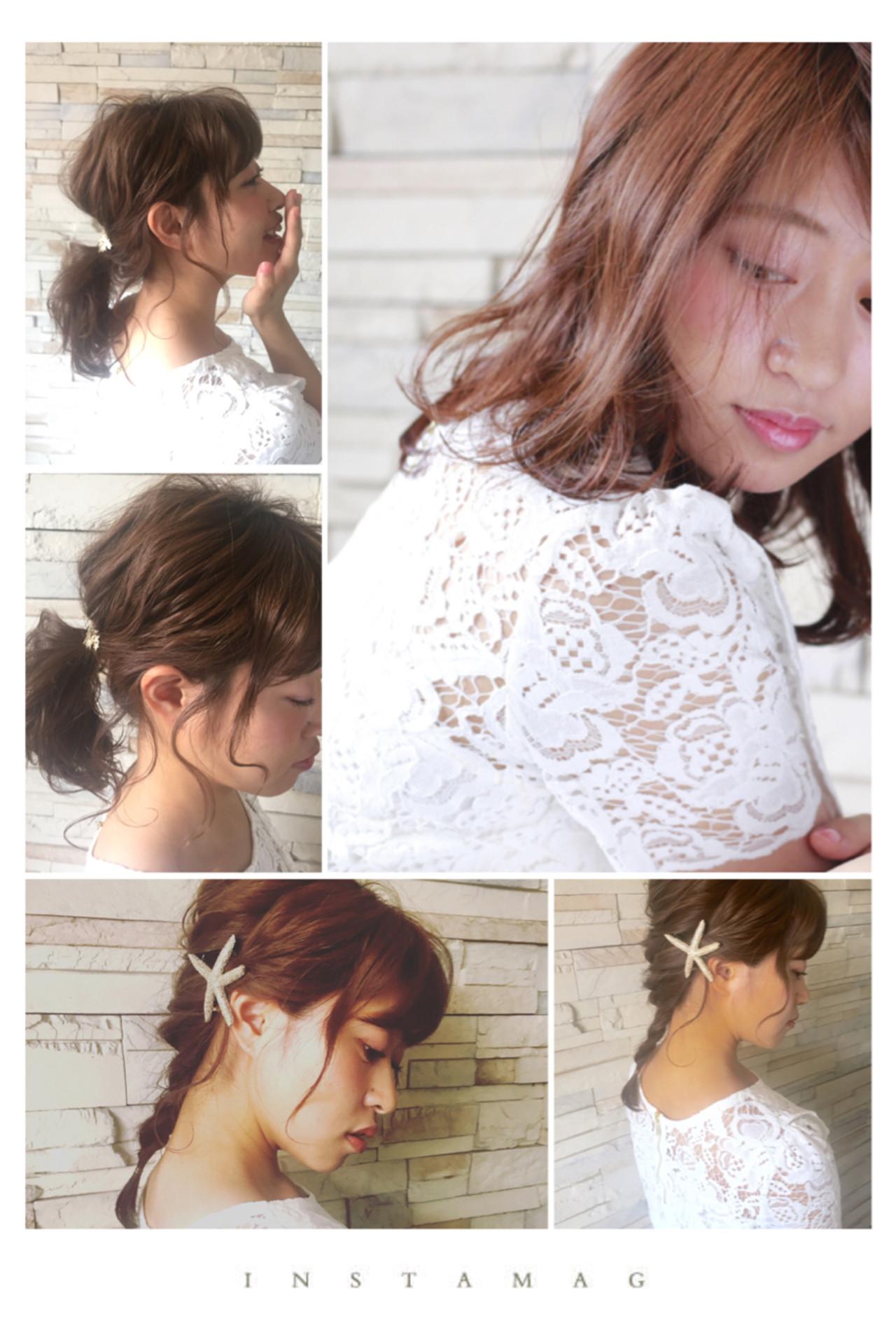 フェミニン ヘアアレンジ 大人女子 簡単ヘアアレンジ ヘアスタイルや髪型の写真・画像 | rejouirくさか / リジェール高辻店