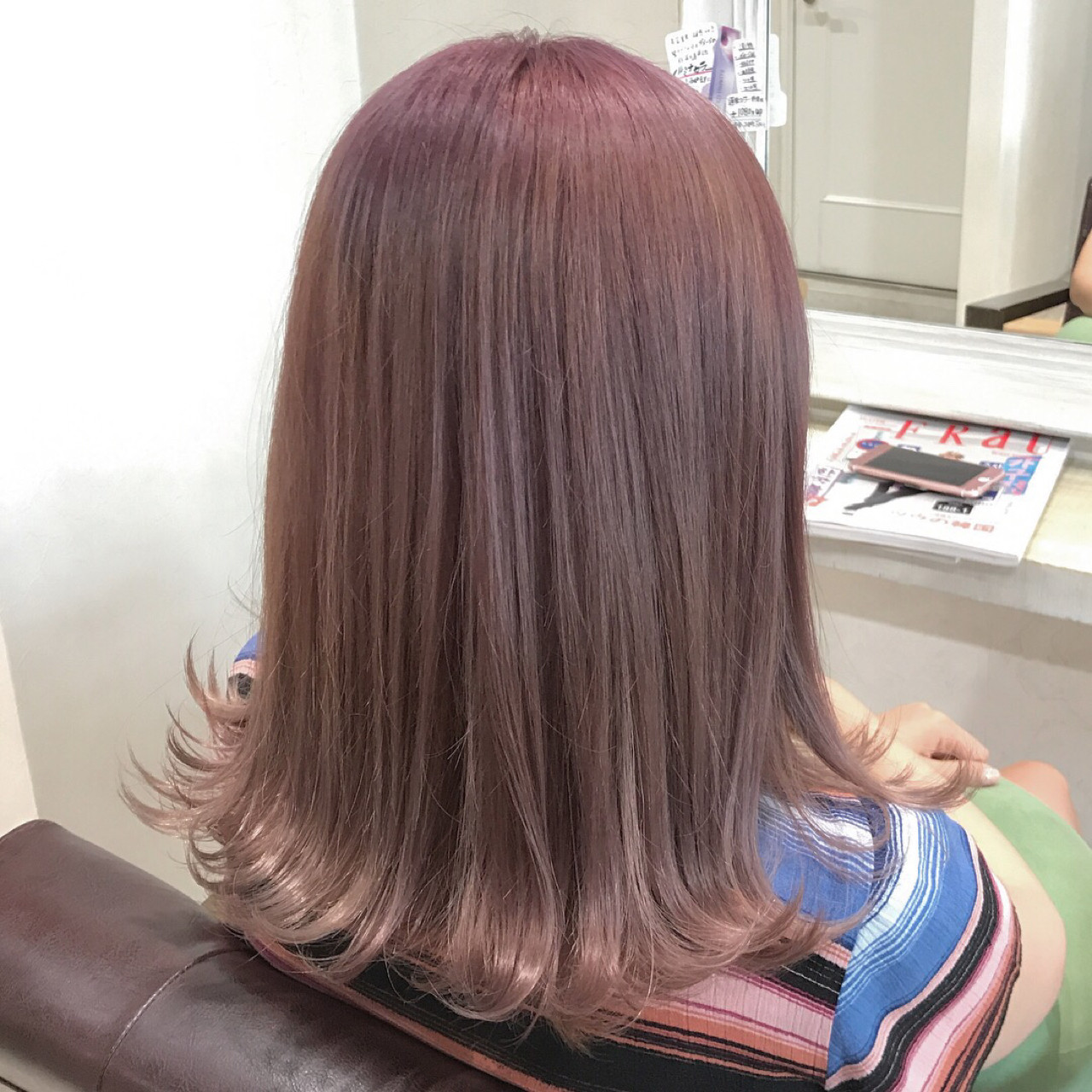 ミディアム ラベンダーピンク ピンク ピンクアッシュ ヘアスタイルや髪型の写真・画像