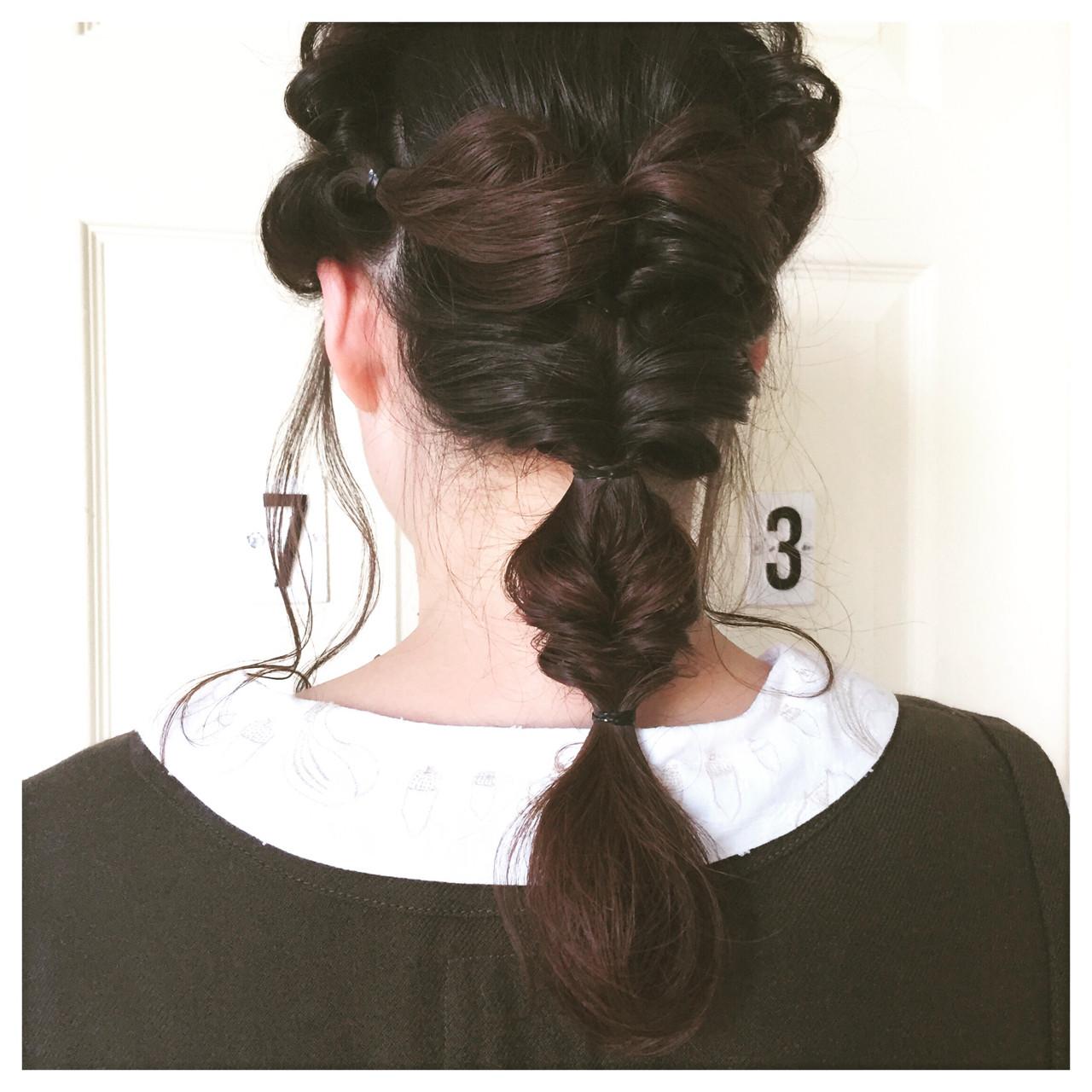 ロング 暗髪 簡単ヘアアレンジ ショート ヘアスタイルや髪型の写真・画像