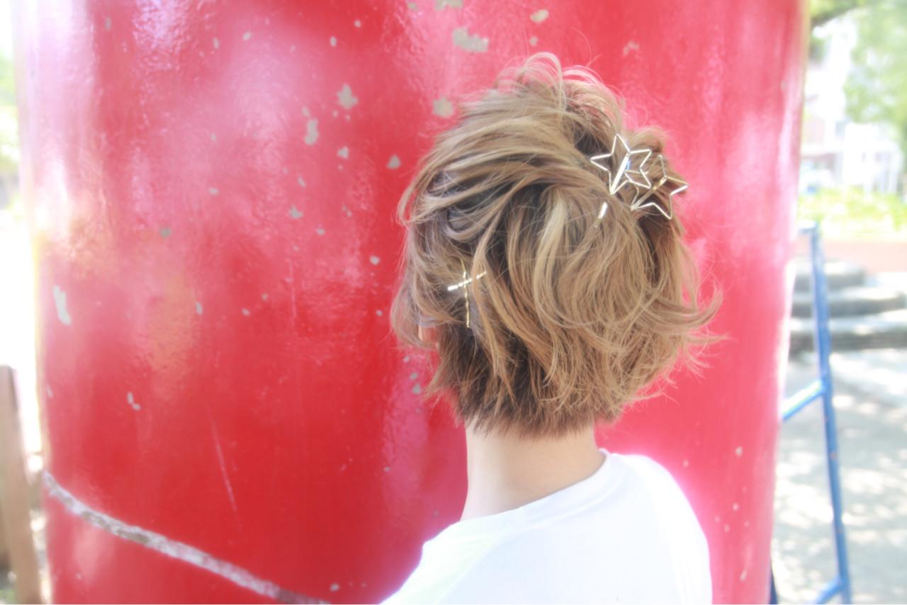 色気 ショート ヘアアレンジ ストリート ヘアスタイルや髪型の写真・画像