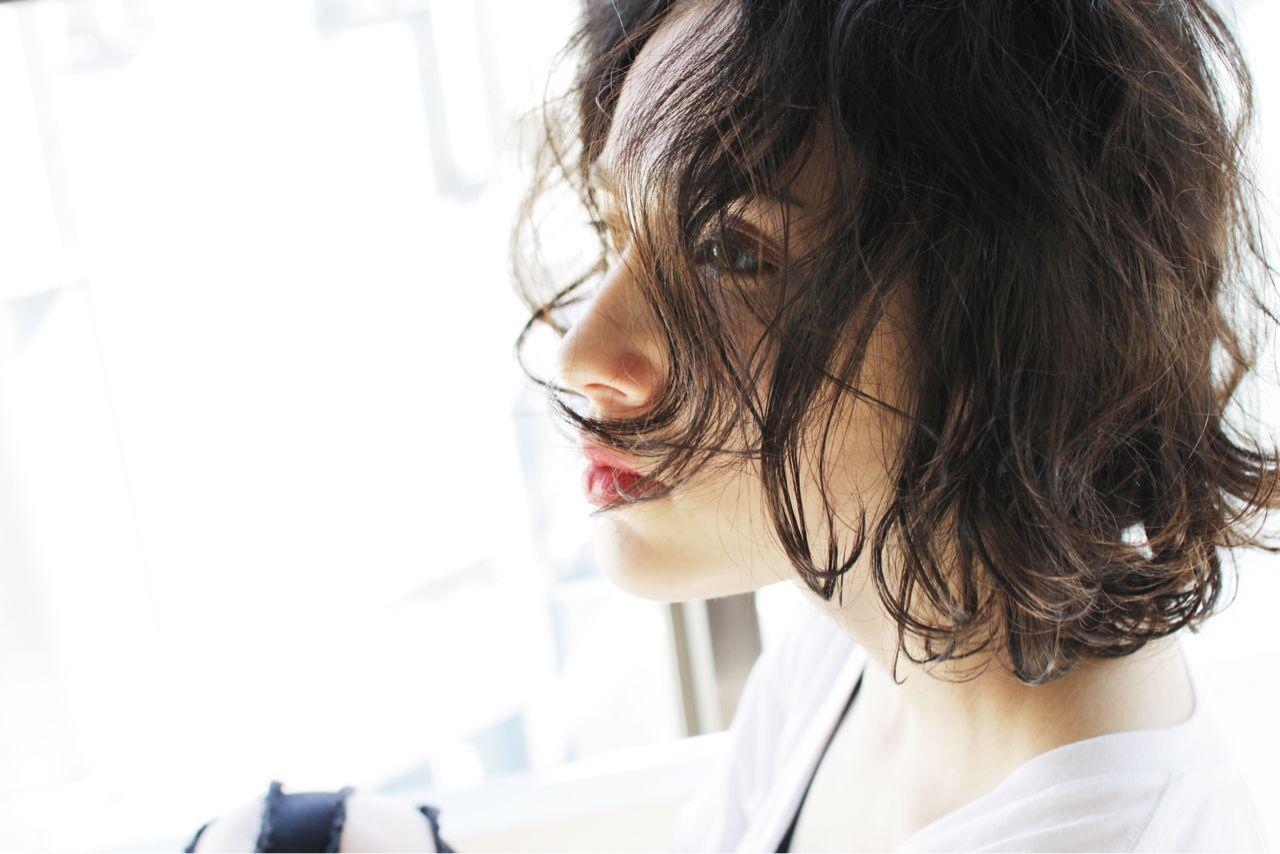抜け感 黒髪 パンク ボブ ヘアスタイルや髪型の写真・画像
