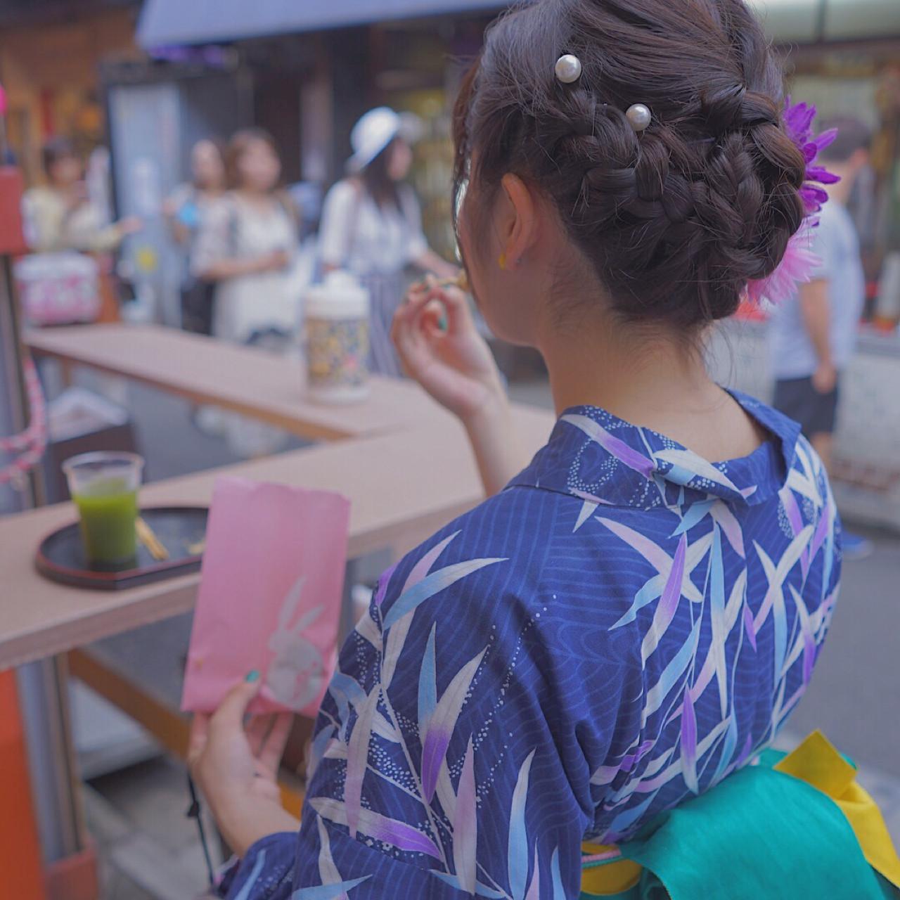 夏 涼しげ 和装 お祭り ヘアスタイルや髪型の写真・画像 | Reina /