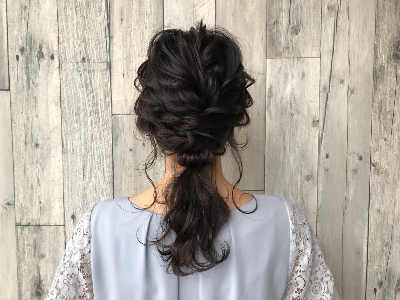 ガーリー ミディアム ヘアアレンジ 編み込み ヘアスタイルや髪型の写真・画像