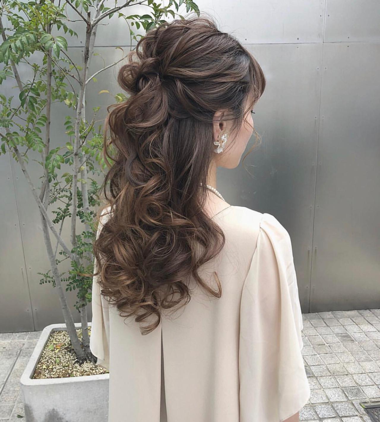 フェミニン ロング ハーフアップ 大人可愛い ヘアスタイルや髪型の写真・画像